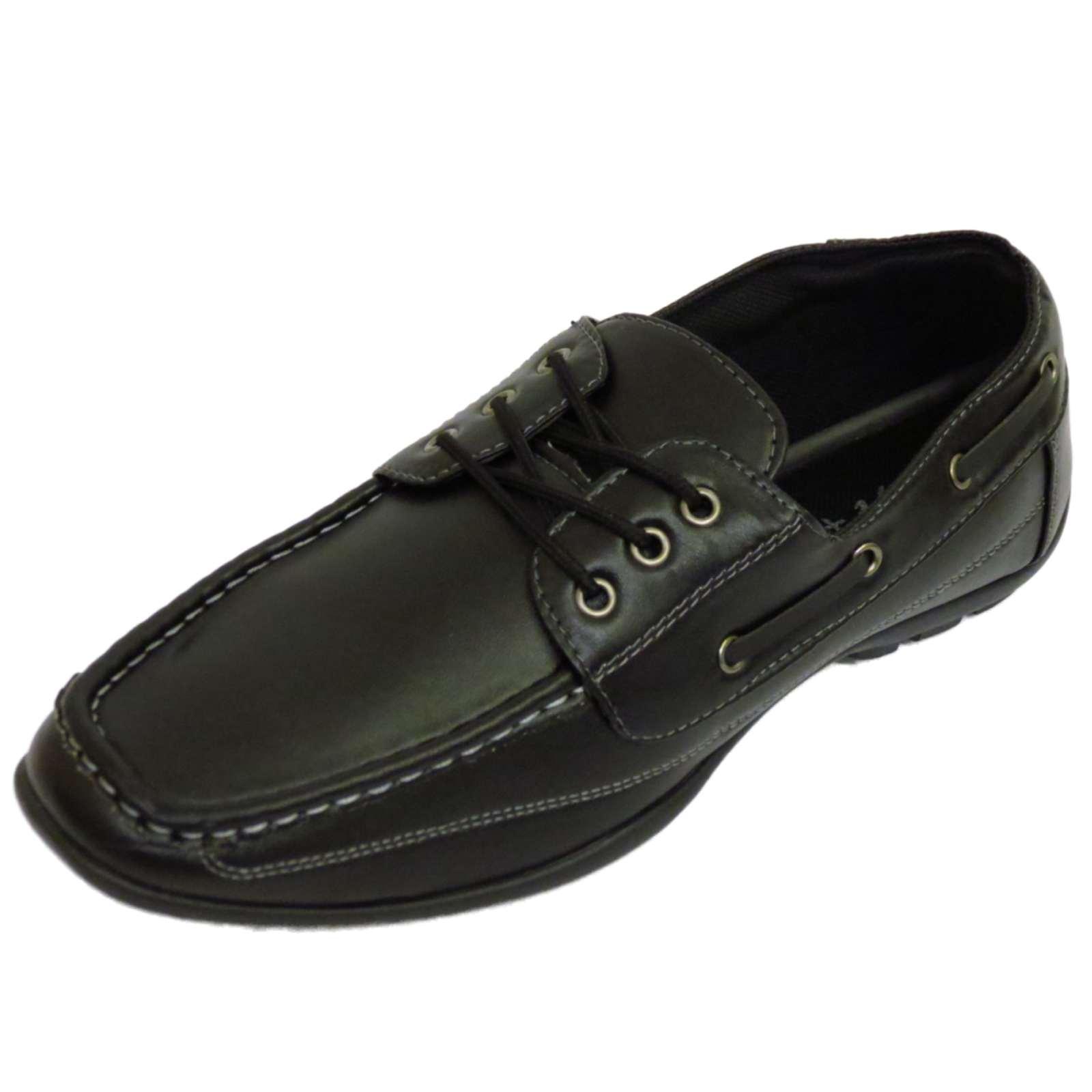 Para hombre Negro Mocasín Con Cordones Inteligente Trabajo Cubierta Mocasines Yate Informal Zapatos UK 6-11