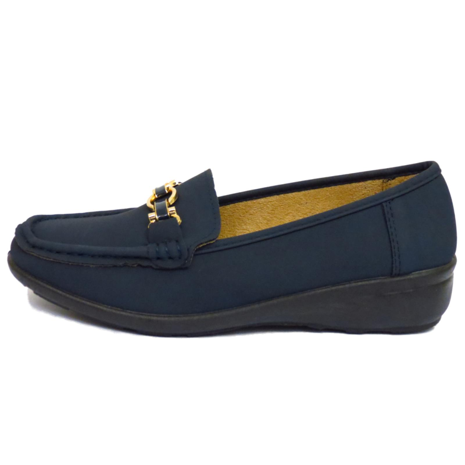 navy slip on pumps comfy work moccasin casual