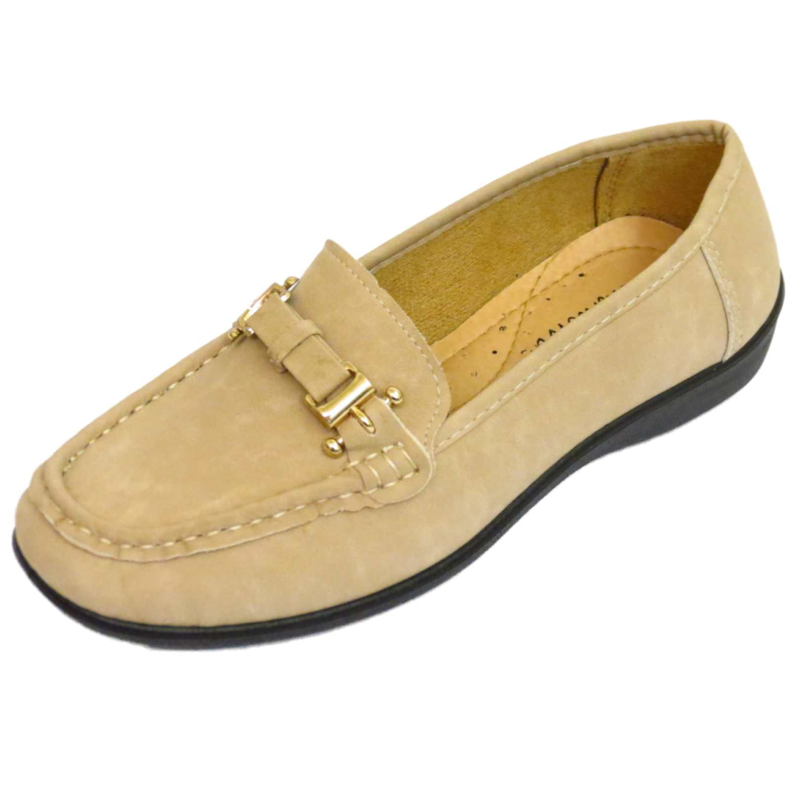 WOMENS BEIGE COMFORT SHOES COMFY WORK CASUAL SLIP-ON FLAT LOAFERS SIZES 3-8 | EBay