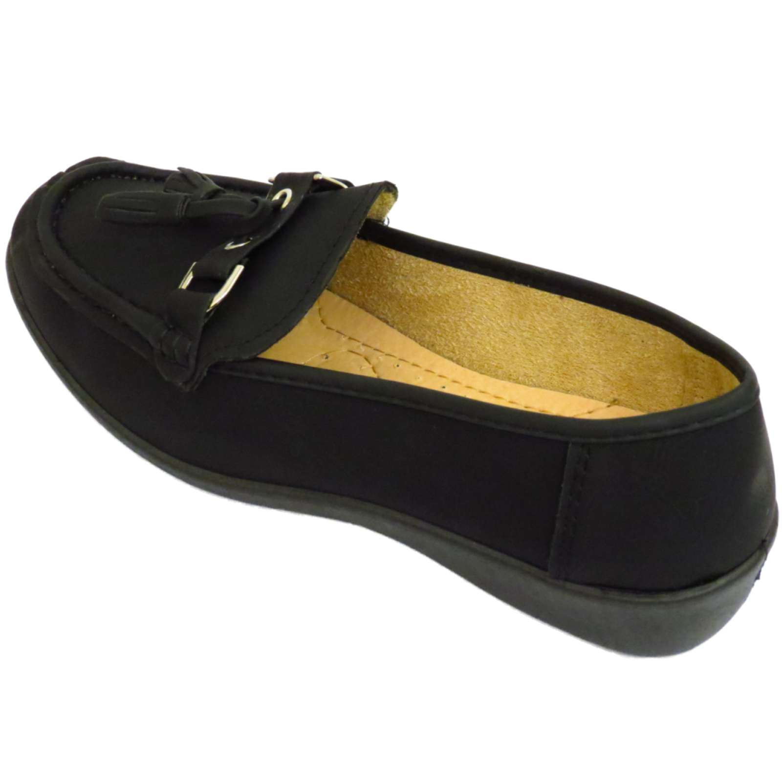 black slip on pumps comfy work moccasin casual