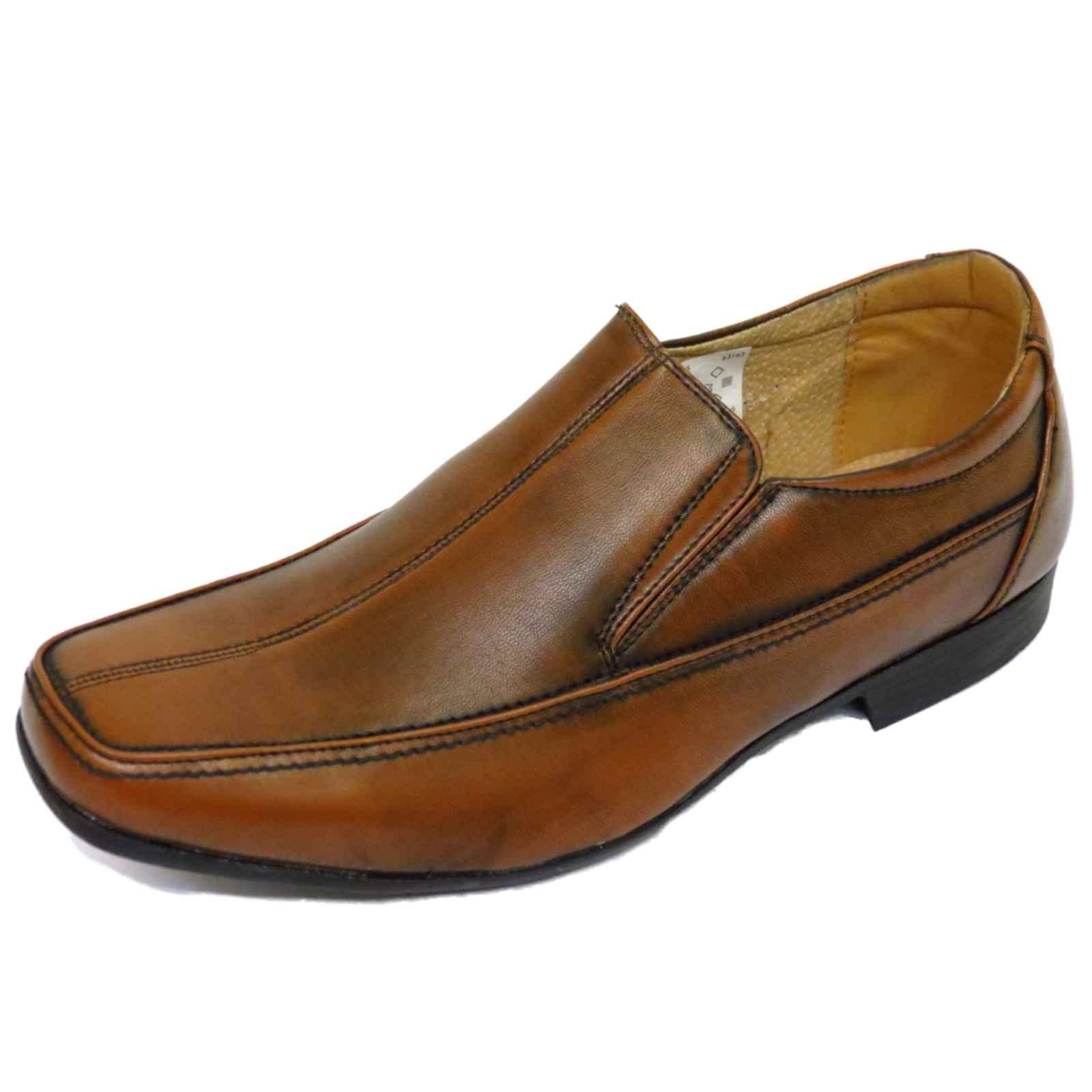 mens brown slip on work wedding smart casual loafers work