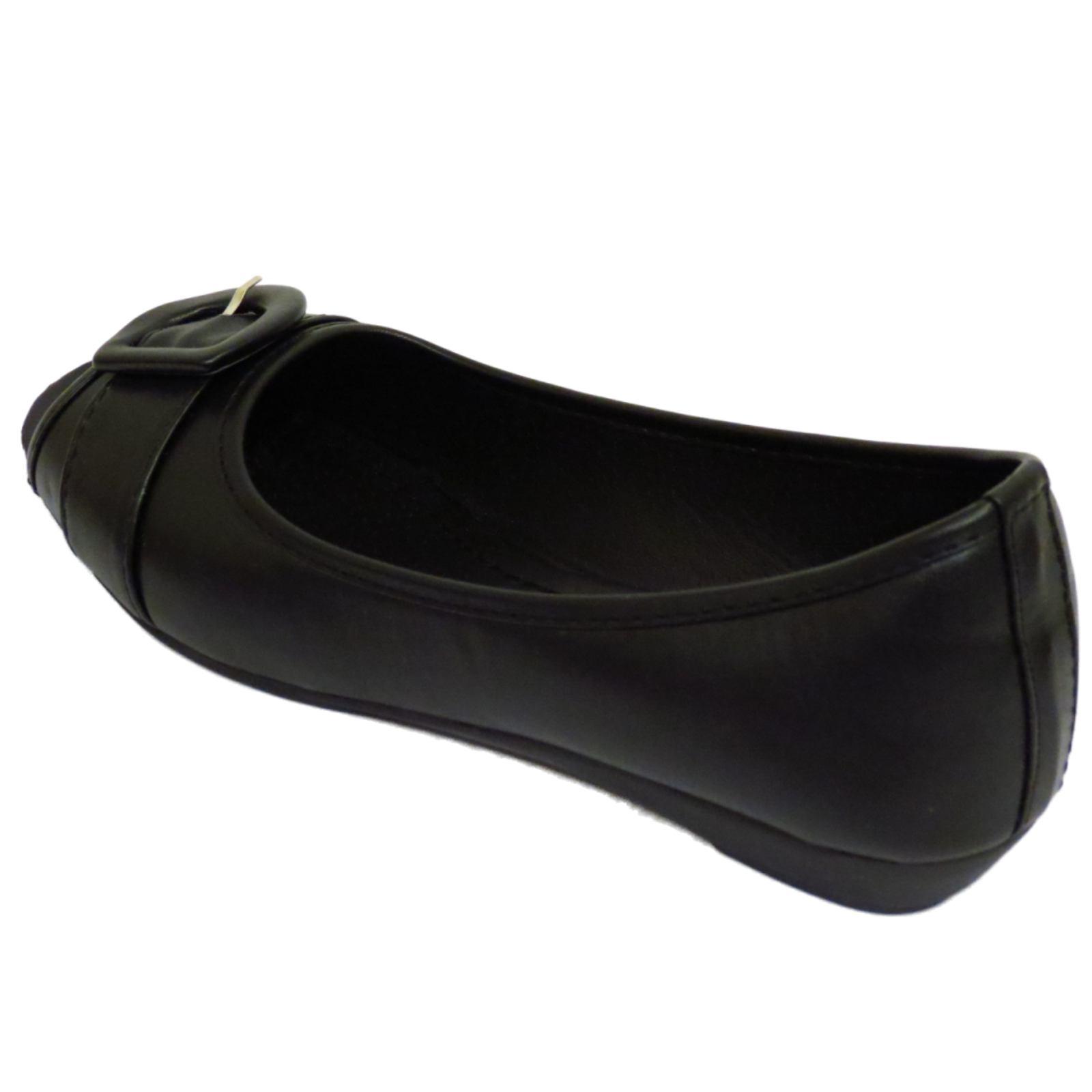 Señoras negras bombas de trabajo cómodo Slip-On Casual Zapatos Tacón Gatito Sin Puntera UK 3-8