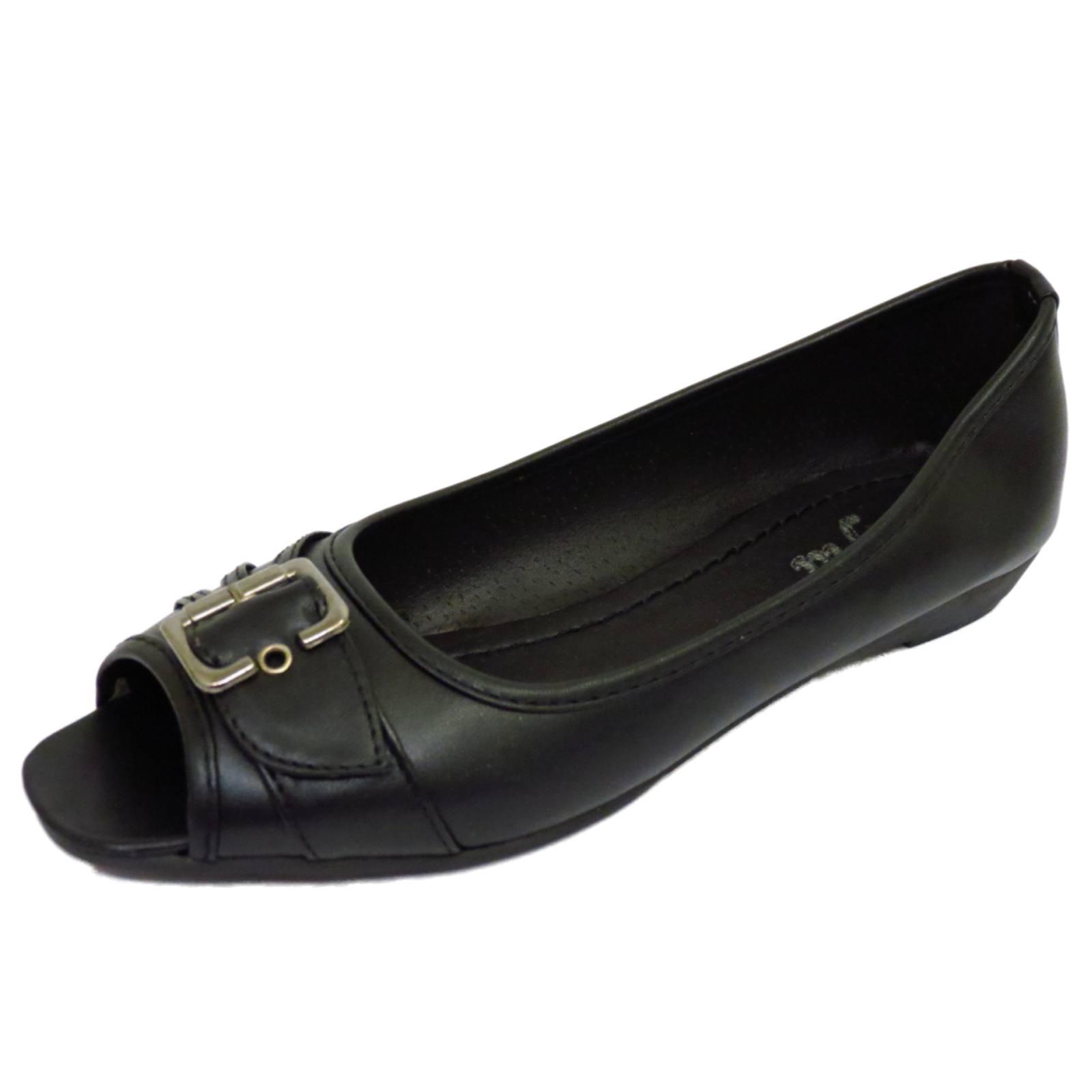Negro De Mujer Sin Cordones Bombas De Ballet trabajo cómoda Puntera Abierta Tacón Bajo Zapatos Tallas 3-8