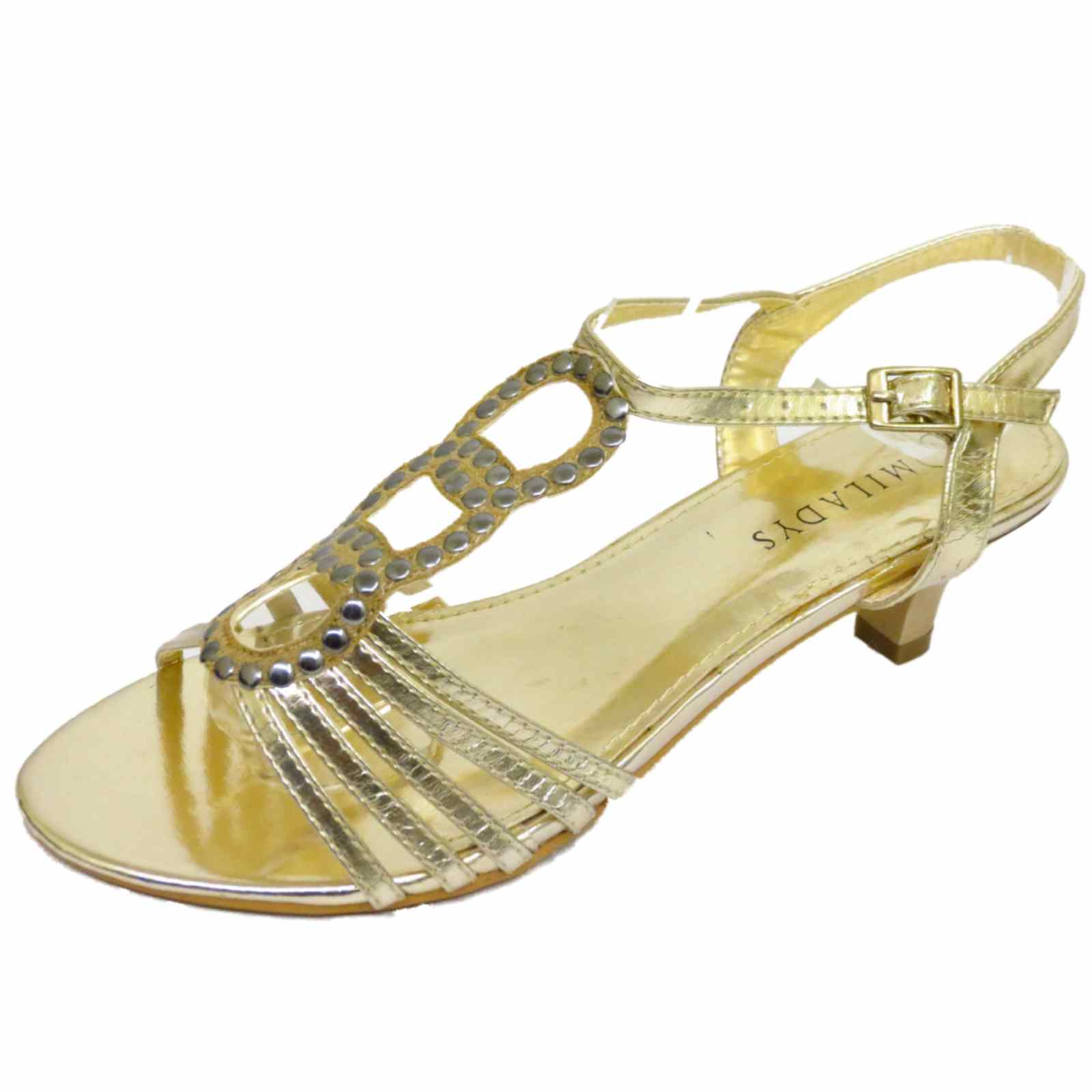 LADIES GOLD STRAPPY KITTEN LOW HEEL EVENING SANDALS PARTY ...