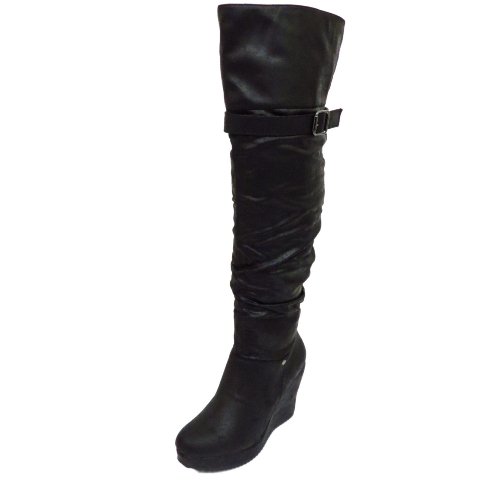 black knee high wedge heel platform zip