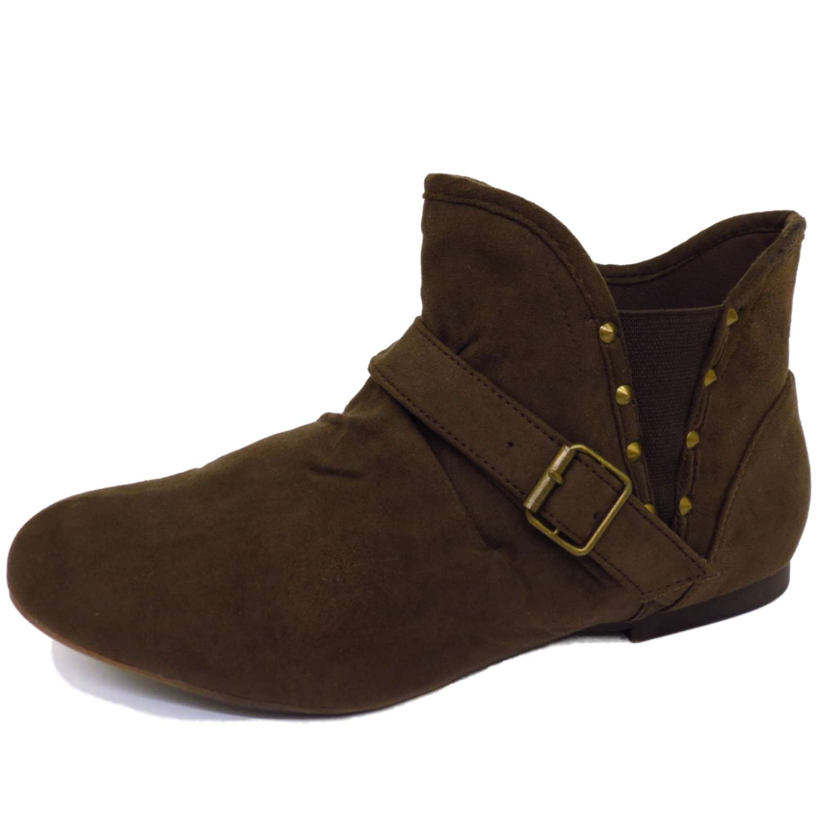 ladies flat brown pullon pixie biker ankle slouch ruched