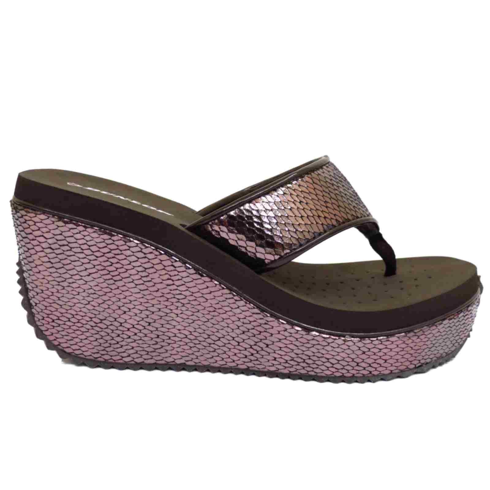 Ladies Brown Wedge Shoes