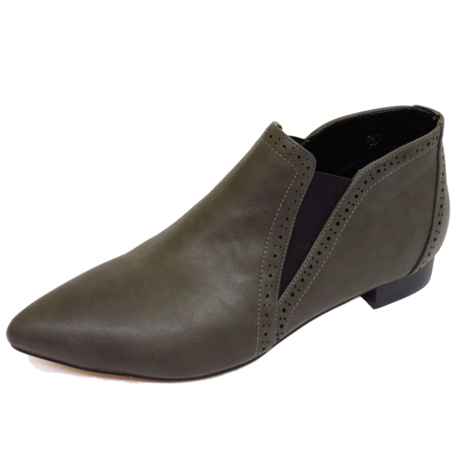 flat dolcis grey pointy pull on pixie ankle chelsea