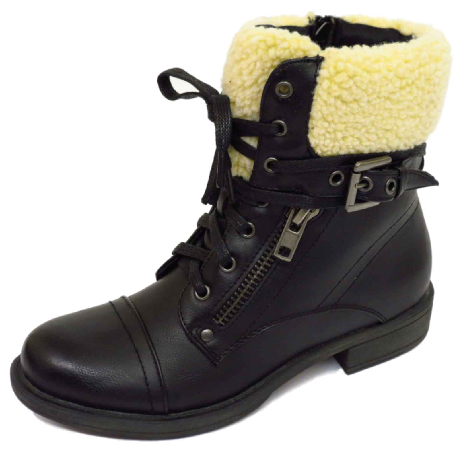 LADIES-DOLCIS-BLACK-OR-BROWN-LACE-UP-MILITARY-WARM-ANKLE-ARMY-ZIP-BOOTS-SHOES