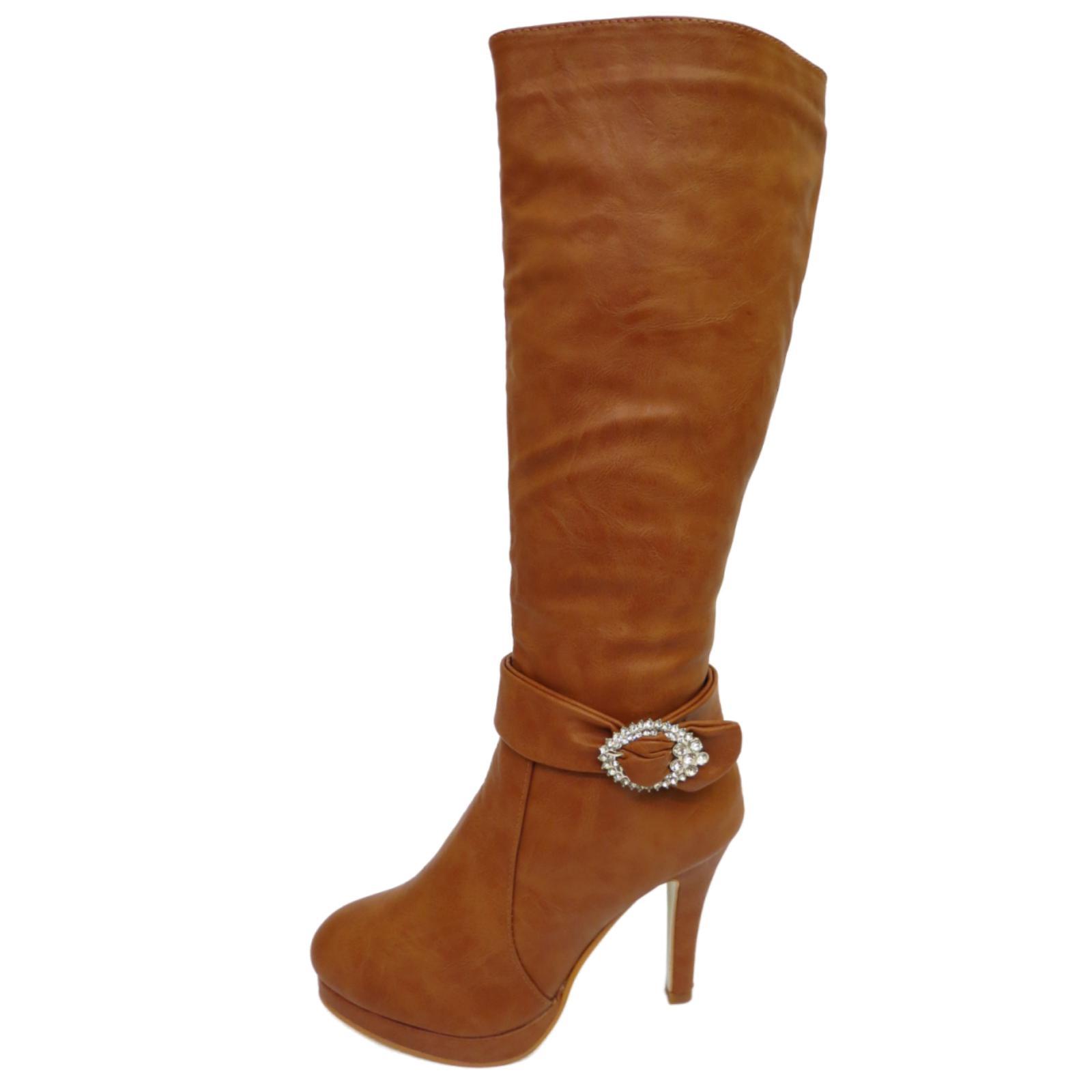 high heel knee high fashion zip up