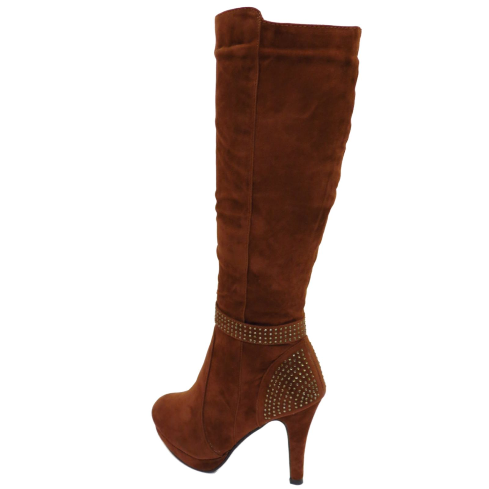 faux suede high heel knee high brown fashion