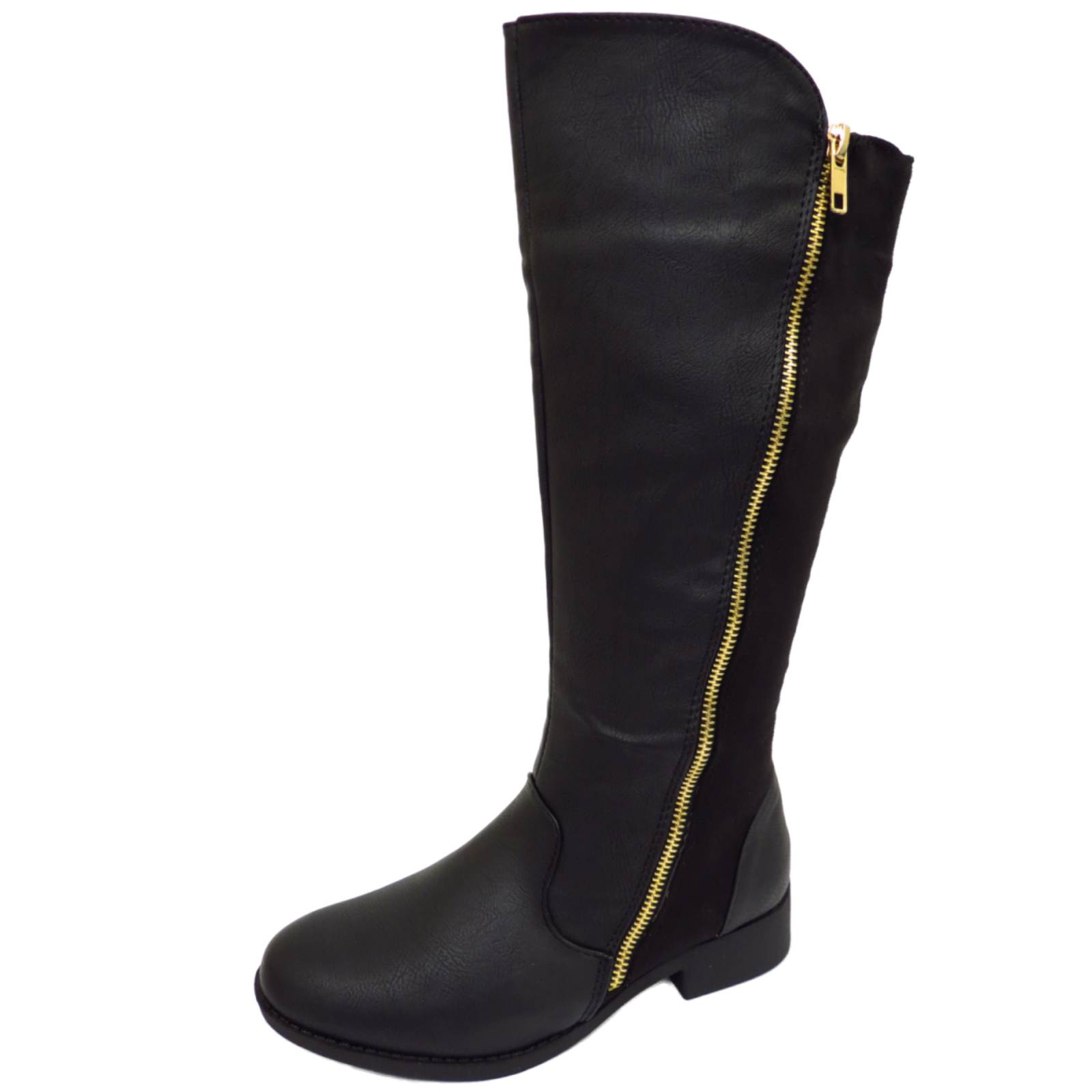 flat black knee high zip up calf winter