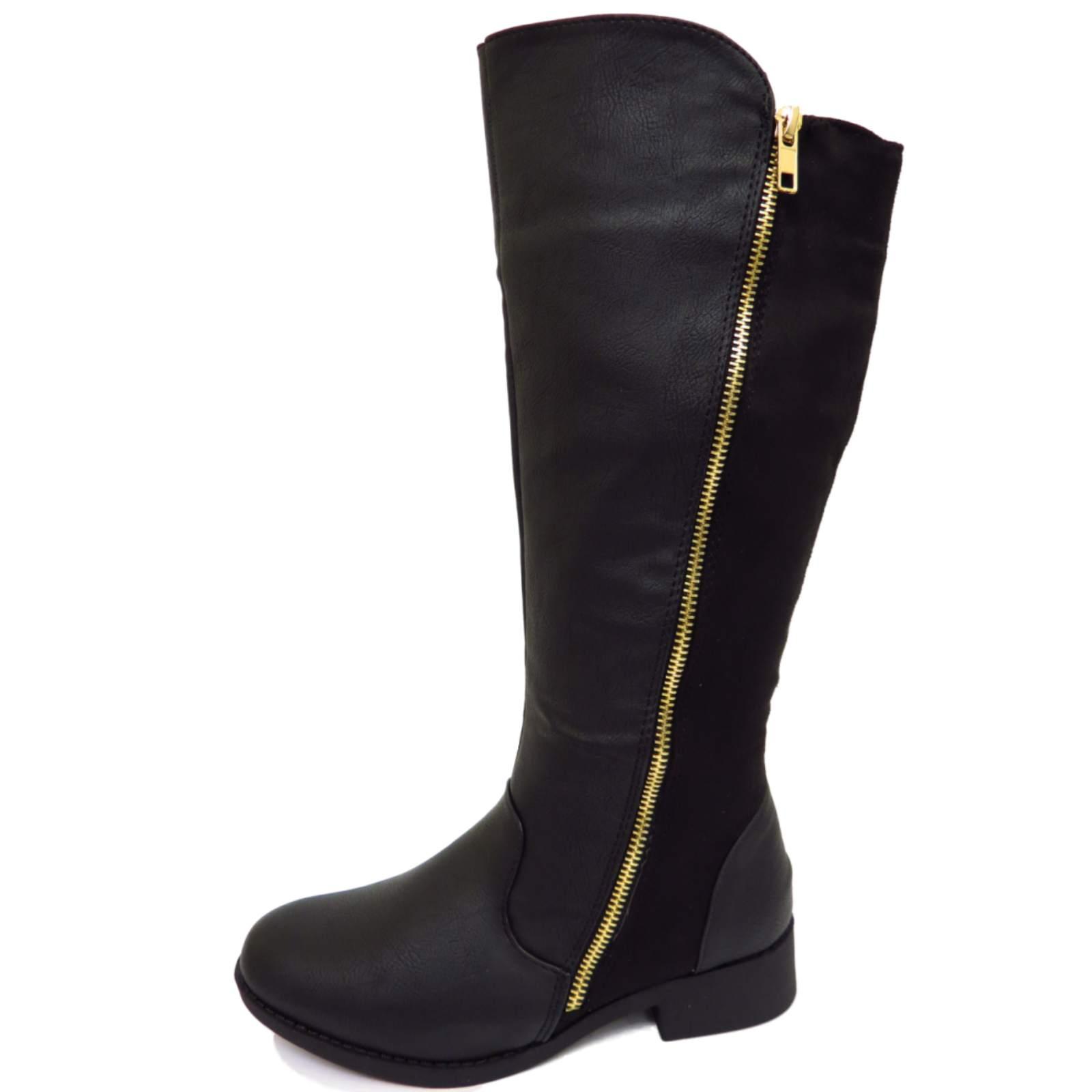 flat black knee high zip up calf winter