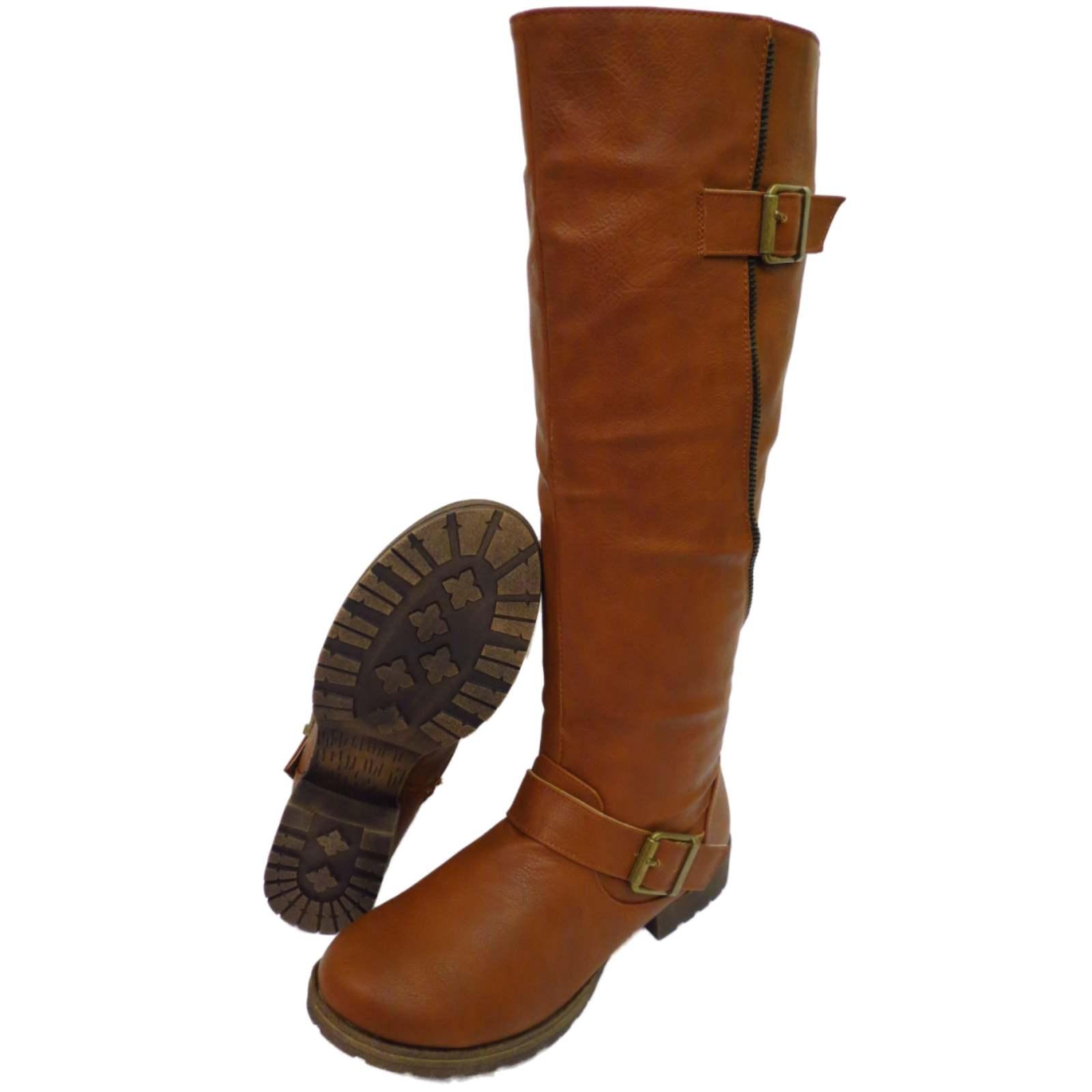 brown knee high low heel zip up calf winter