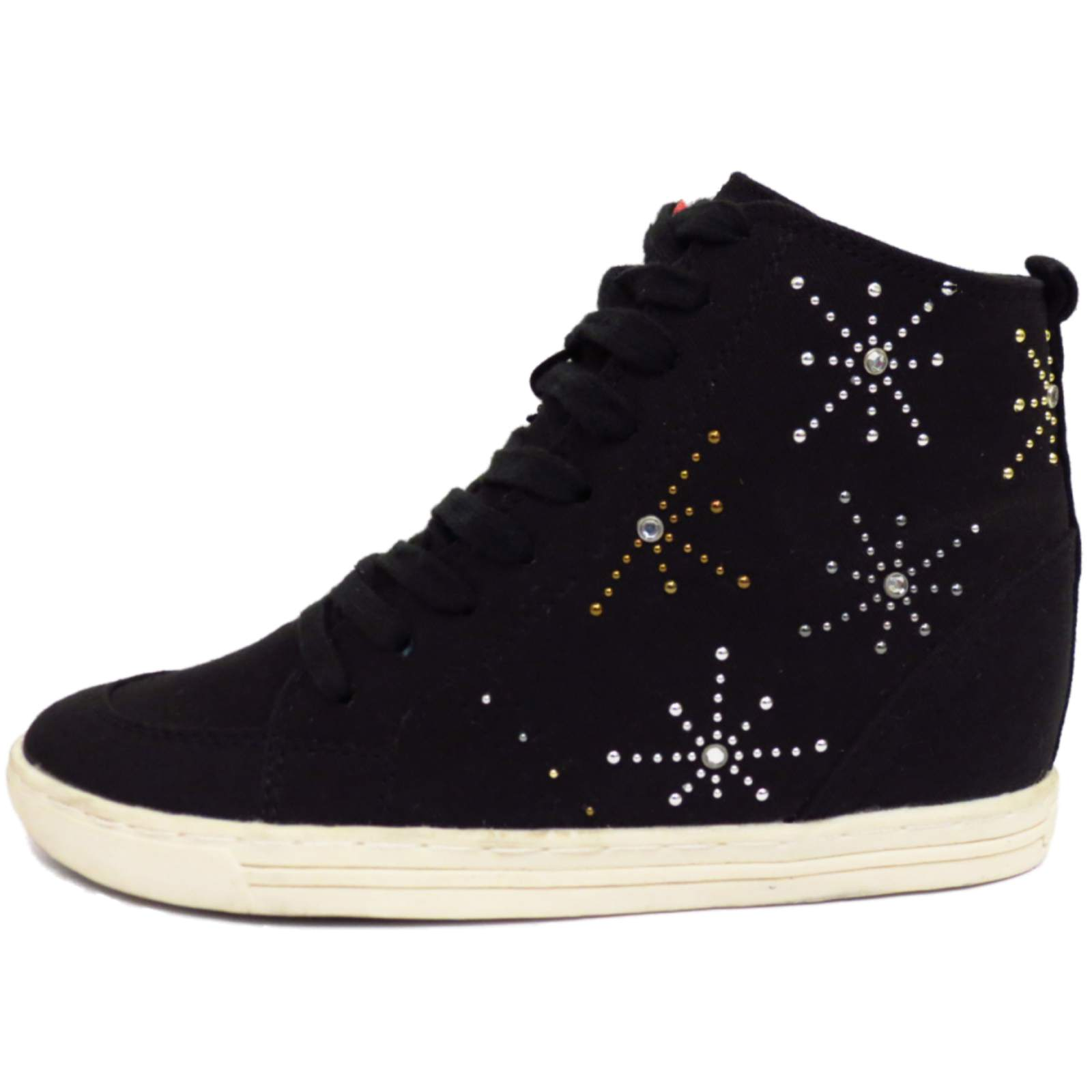black canvas wedge lace up ankle boots