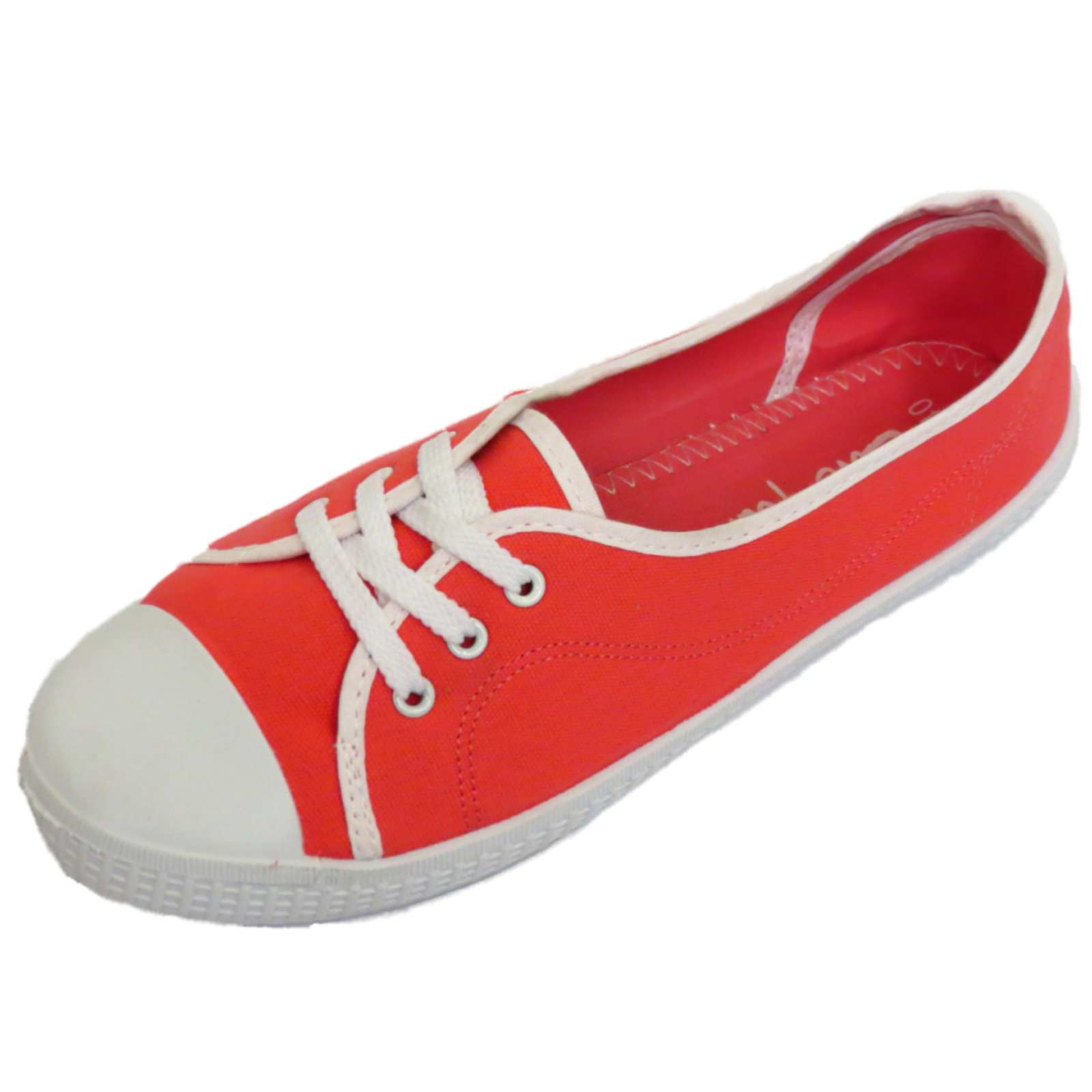 Señoras Rojo Slip-on Lona Playera Bombas Zapatos Informales Planos entrenador Tallas 3-9