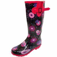 View Item LADIES FIREWORKS WELLINGTON WELLIES RUBBER RAIN SNOW WALKING FESTIVAL BOOTS 3-8
