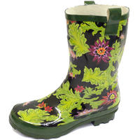 View Item LADIES GREEN WELLINGTON CALF WELLIES RUBBER RAIN SNOW WALKING FESTIVAL BOOTS 3-8