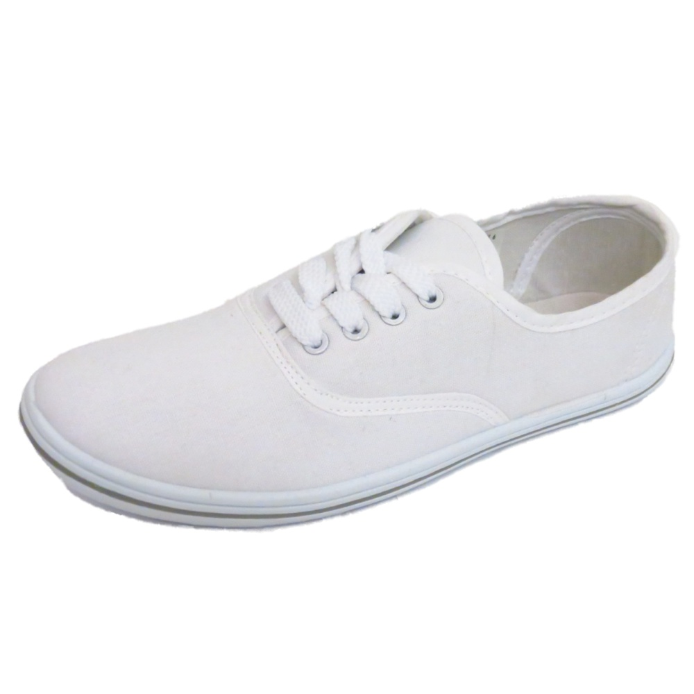 womens flat white lace up canvas trainer plimsoll