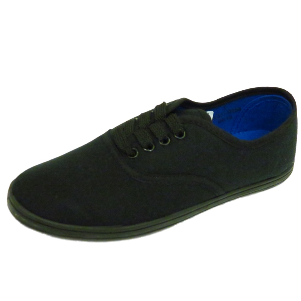 womens flat black lace up canvas trainer plimsoll