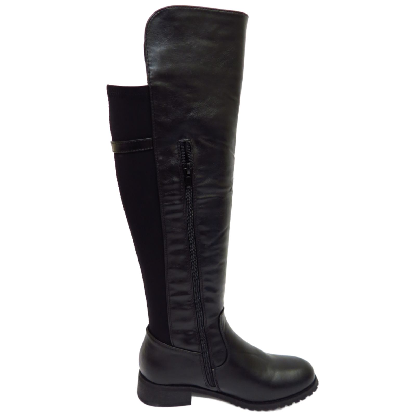 dolcis flat black knee high zip up calf