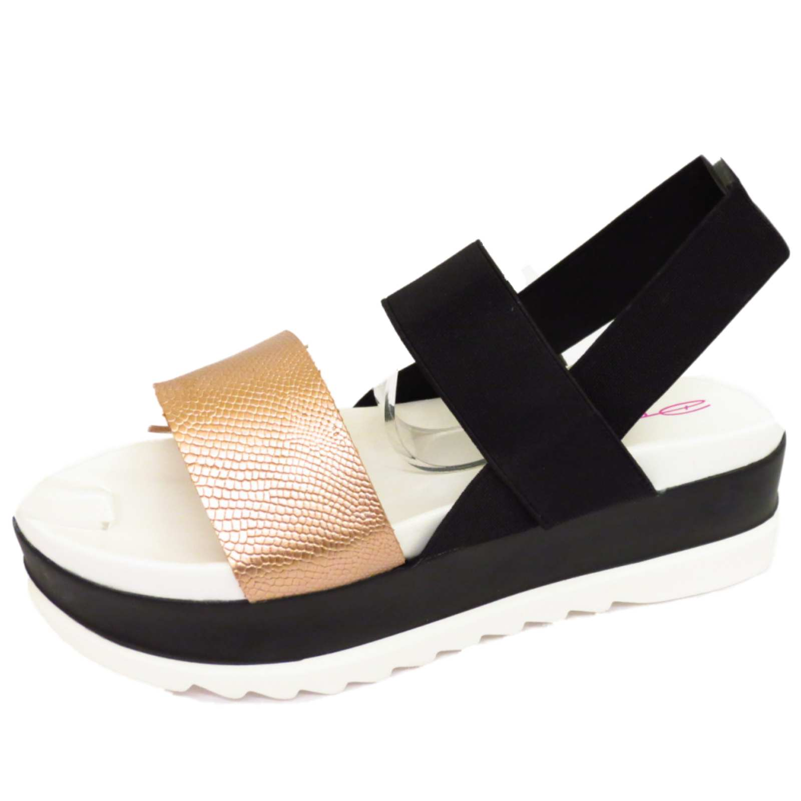 Black sandals chunky - Ladies Dolcis Black Gold Flat Form Platform Chunky