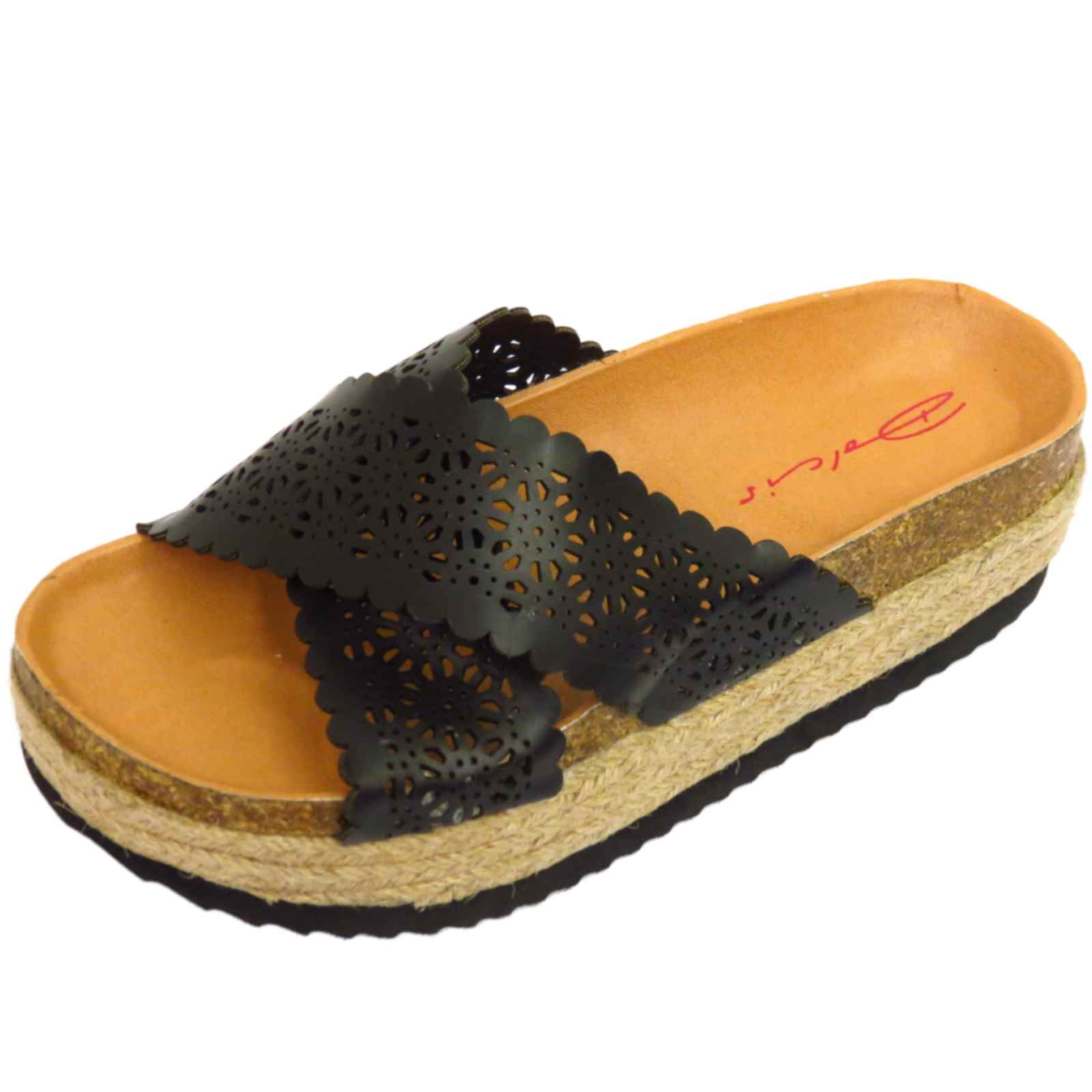 dolcis black slip on platform chunky sandals wedges