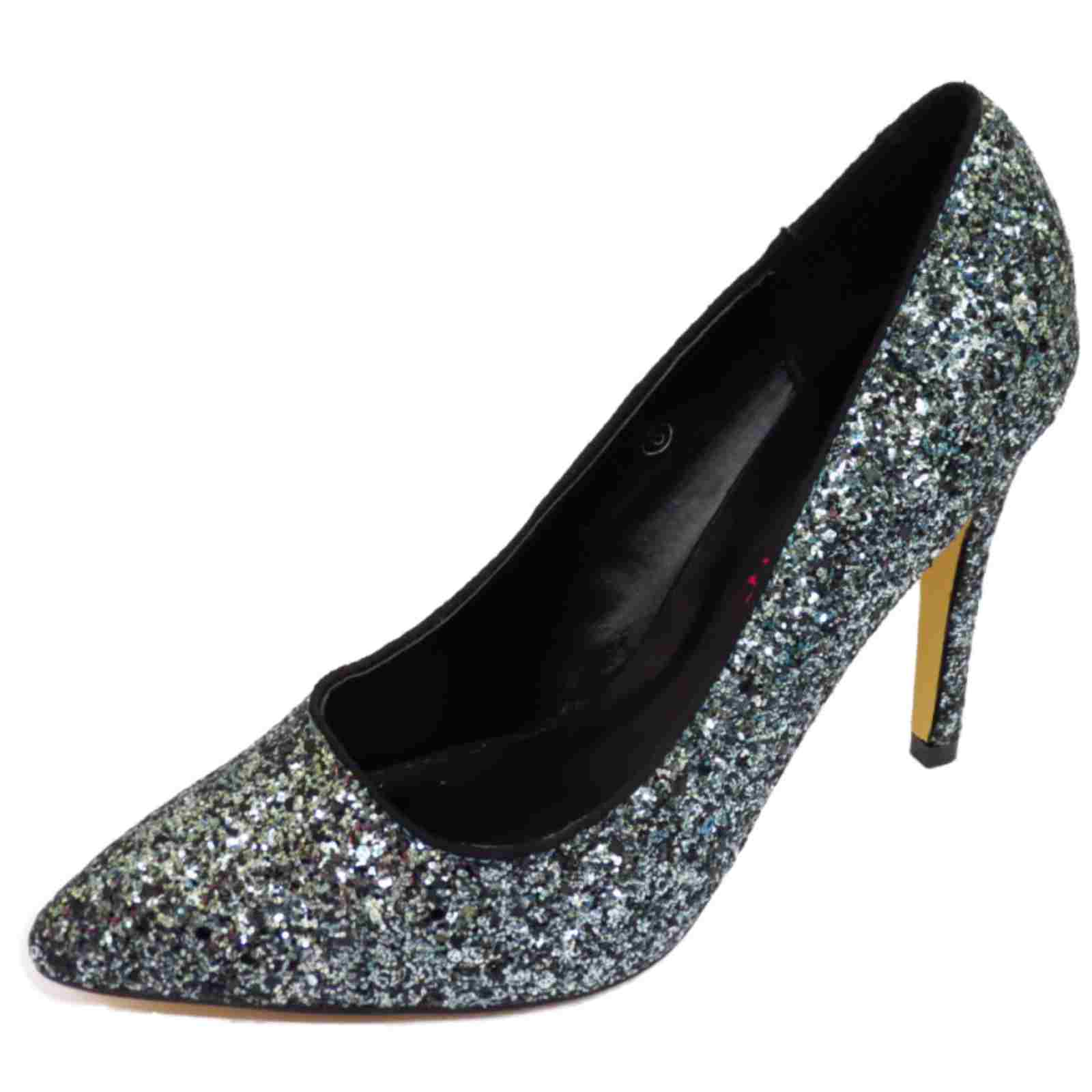 dolcis silver glitter slip on stiletto high heel