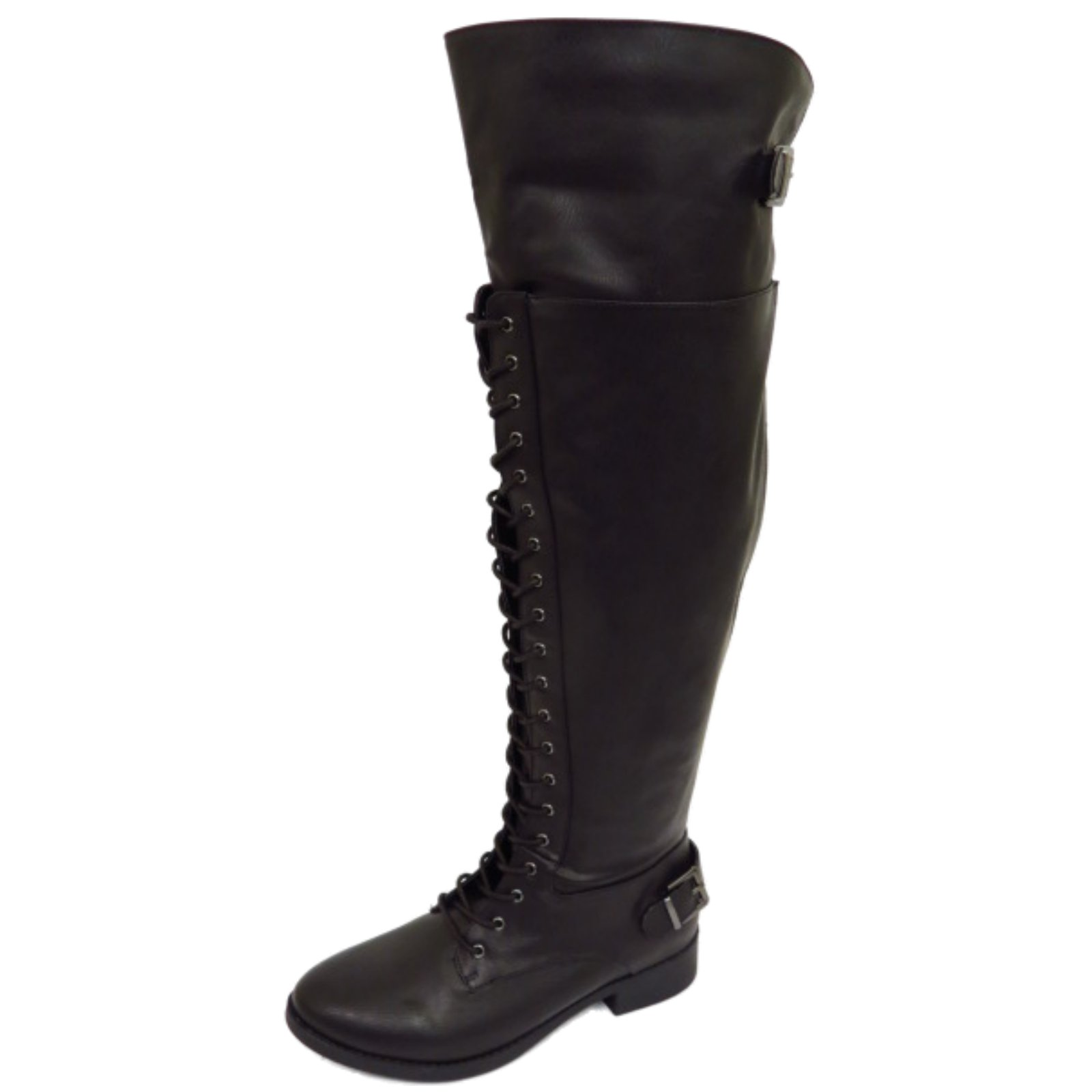 womens black wide calf fit lace up biker knee high