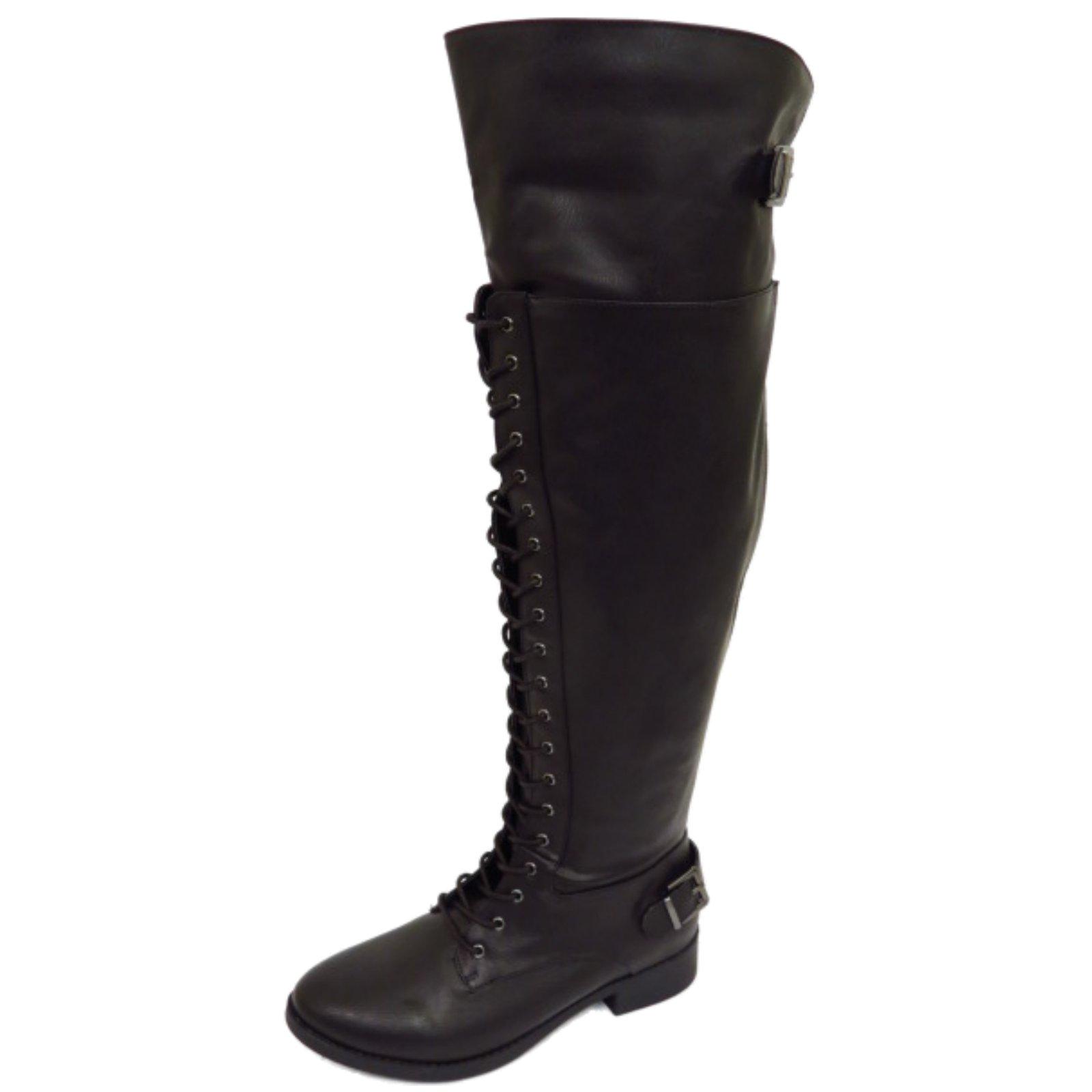 womens black wide calf fit lace up biker knee high