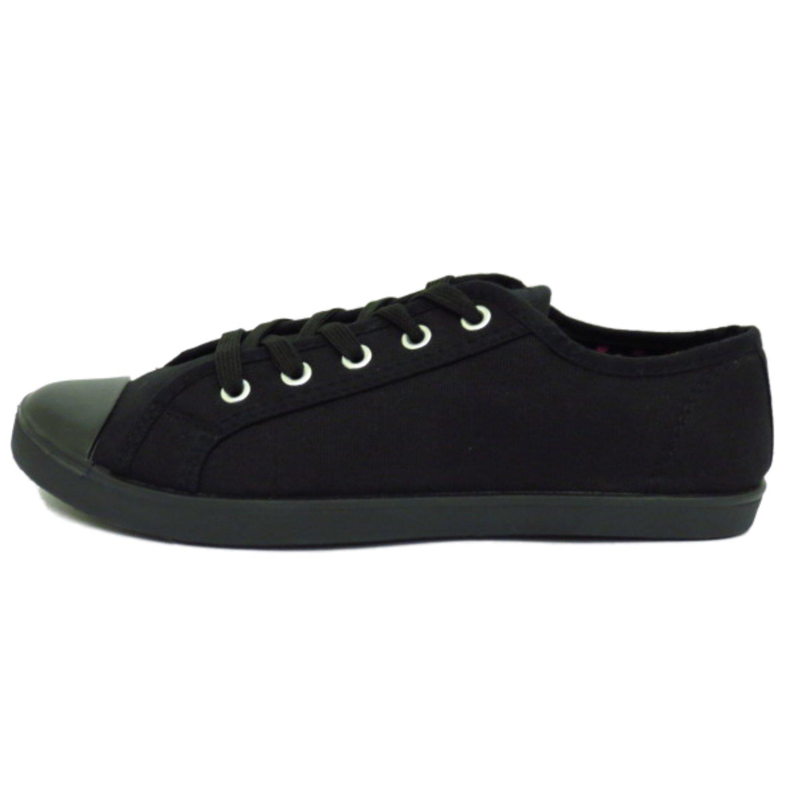 black canvas flat lace up trainer plimsoll pumps