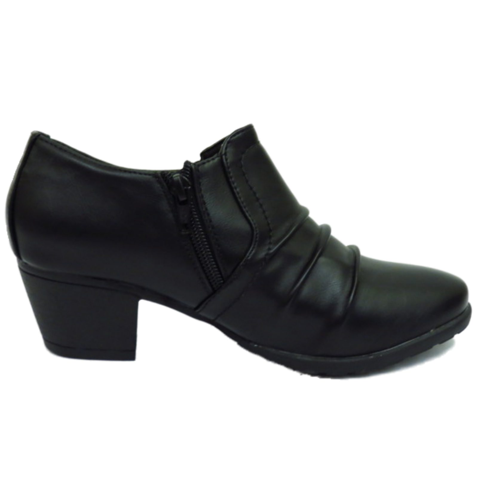 LADIES BLACK LOW-HEEL ZIP-UP RUCHED PIXIE BOHO ANKLE BOOTS WORK ...