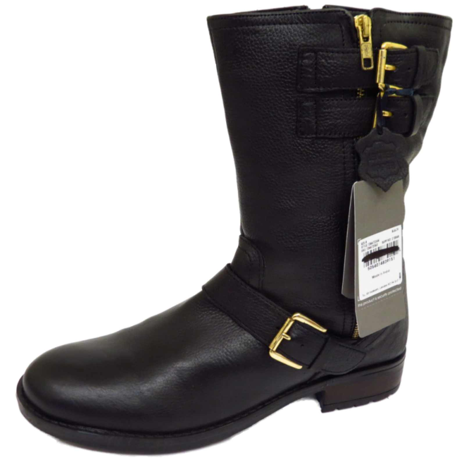 ladies flat black leather zipup calf tall winter military