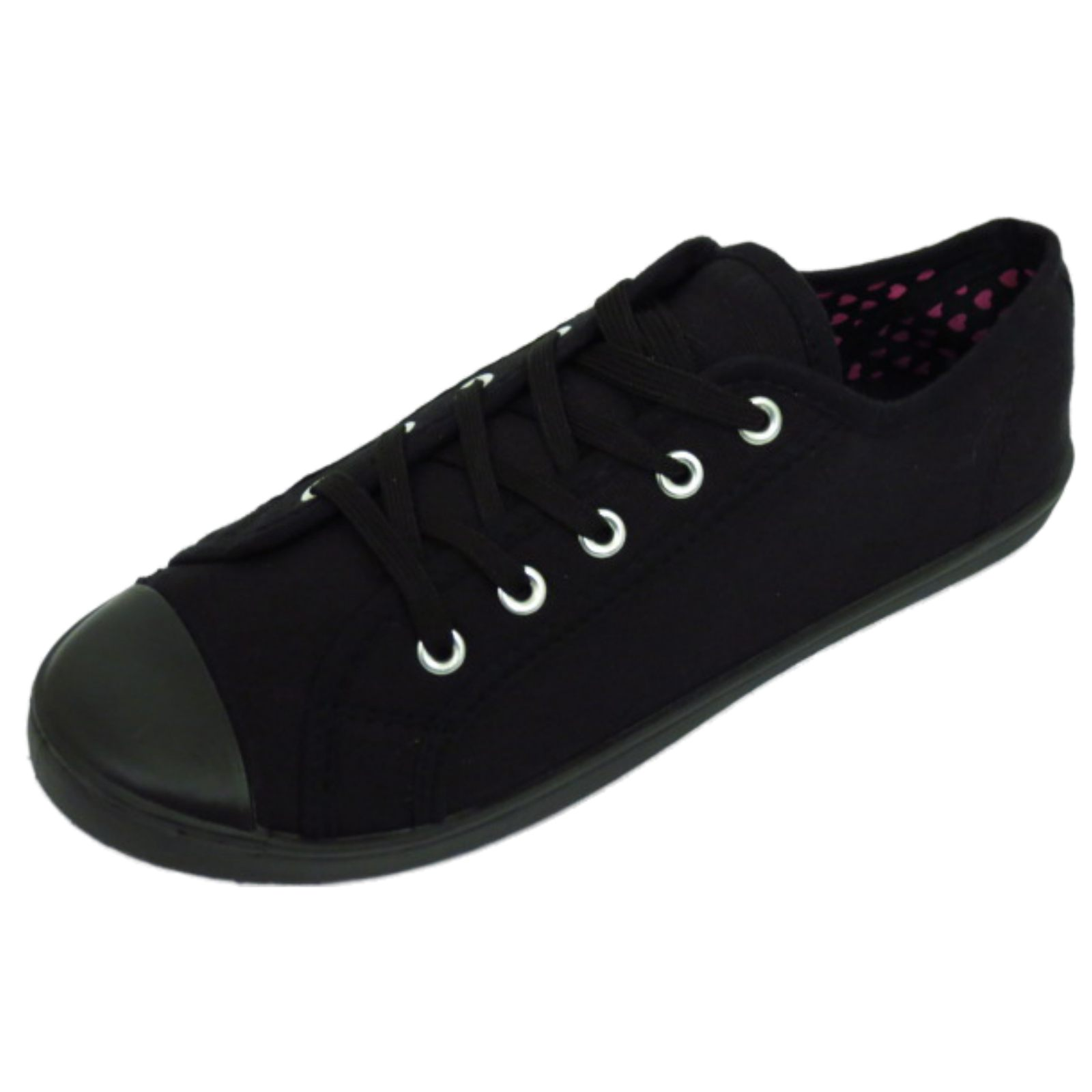 Flat Black Lace Up Work Shoes