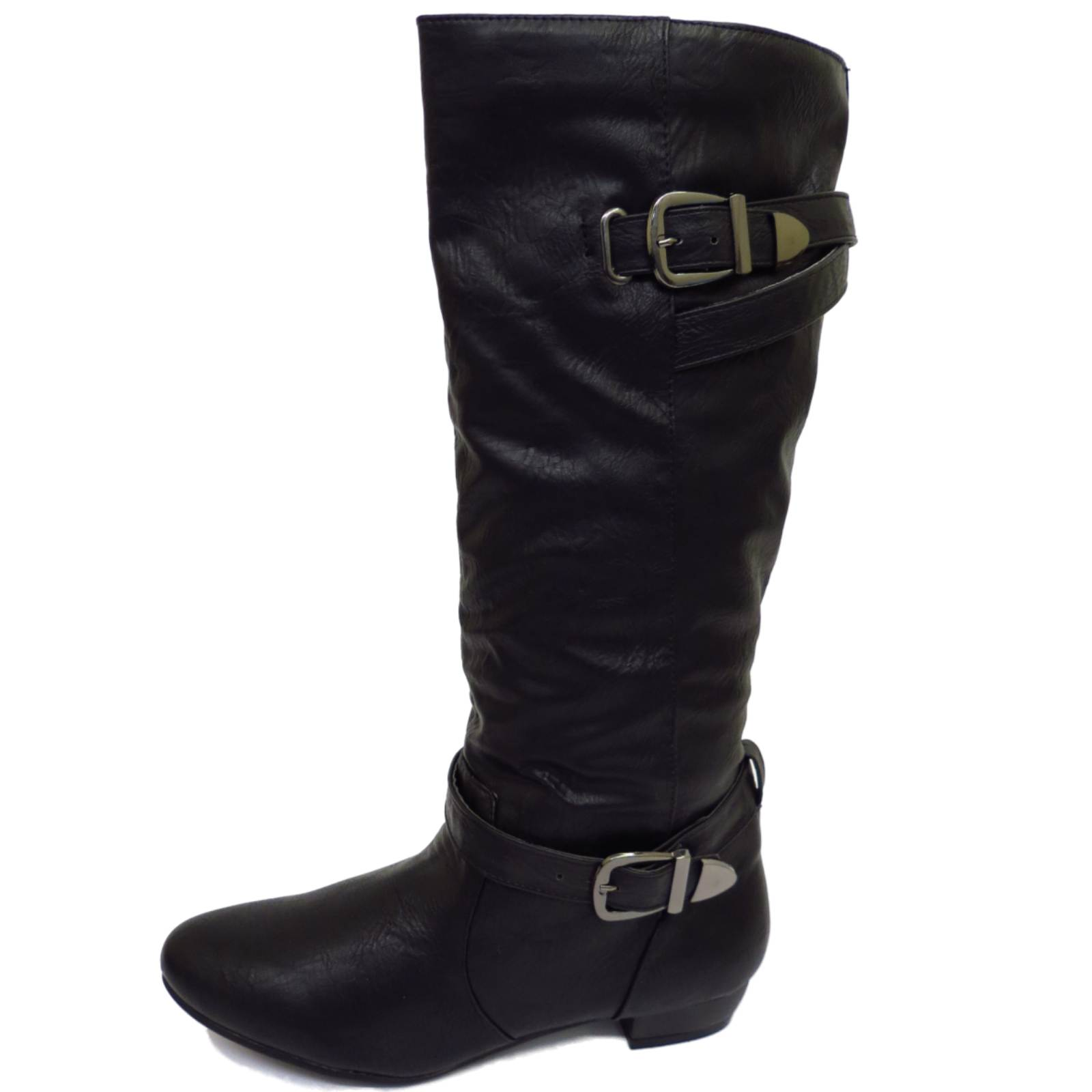 WOMENS FLAT BLACK PULL-ON CALF RUCHED TALL KNEE WARM