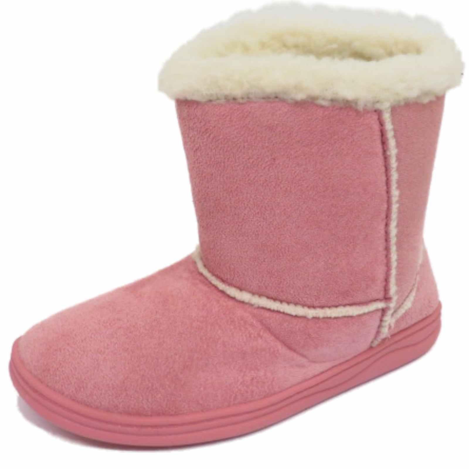 Niñas Niños Invierno Cálido Snugg niños Plana Botas Zapatos de suela dura piel forrada 11-2