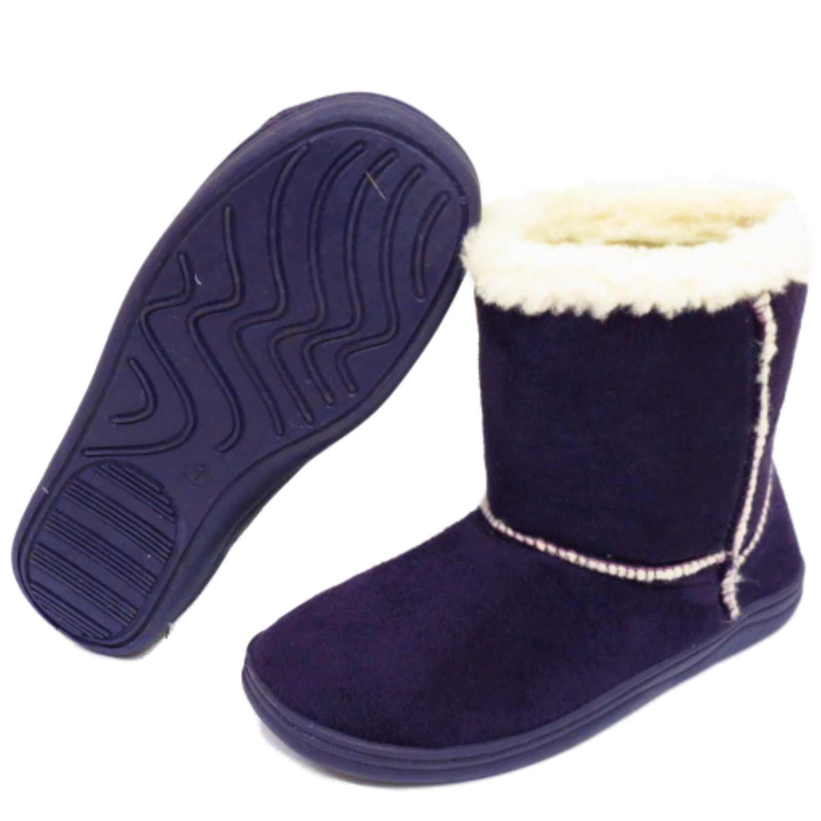 Niñas Niños Púrpura Invierno Cálido Snugg Niños Planas Botas Zapatos forrado de piel sintética 10-2