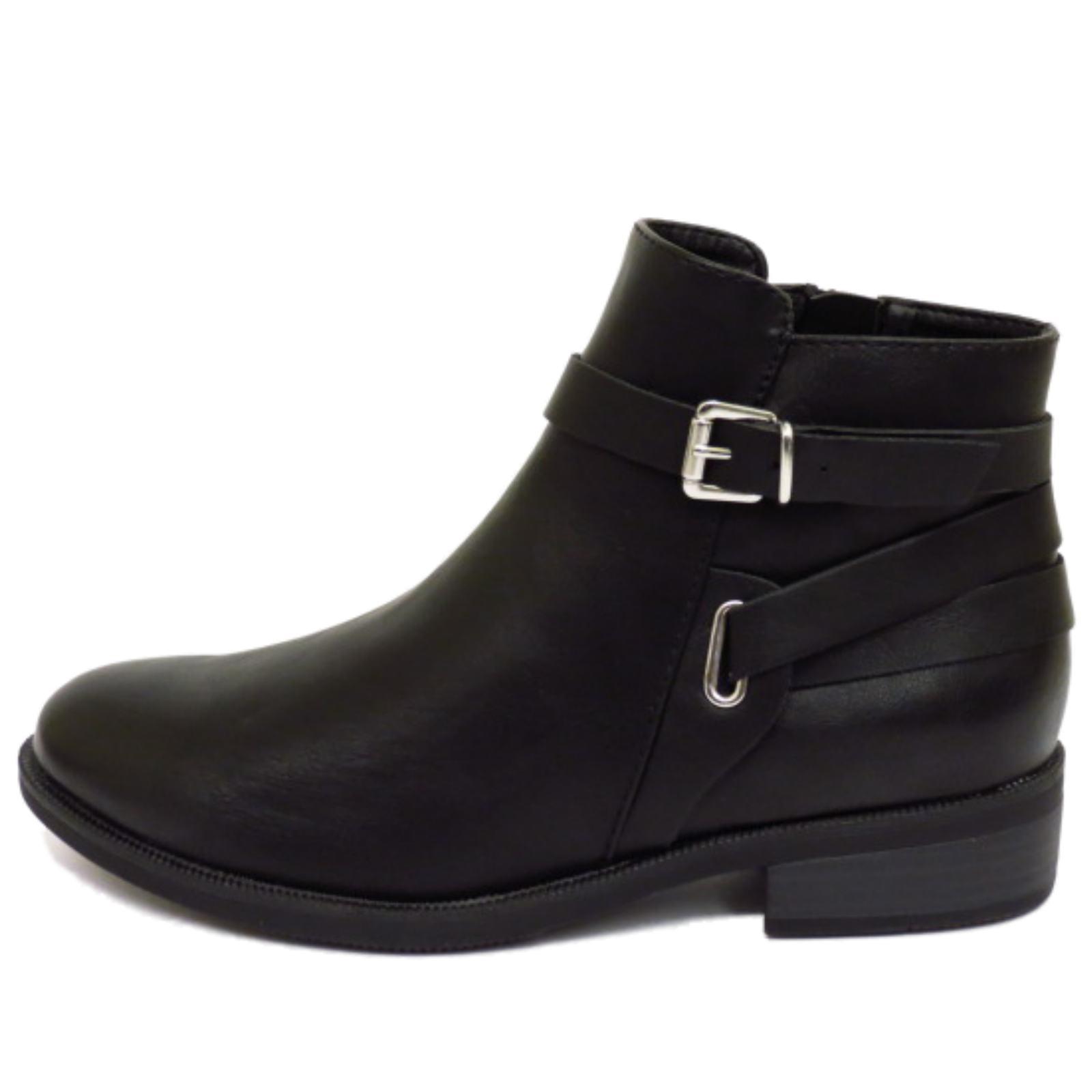 WOMENS BLACK FLAT ZIP-UP BIKER ANKLE CHELSEA PIXIE BOOTS SMART WORK SHOES UK 3-8 | EBay