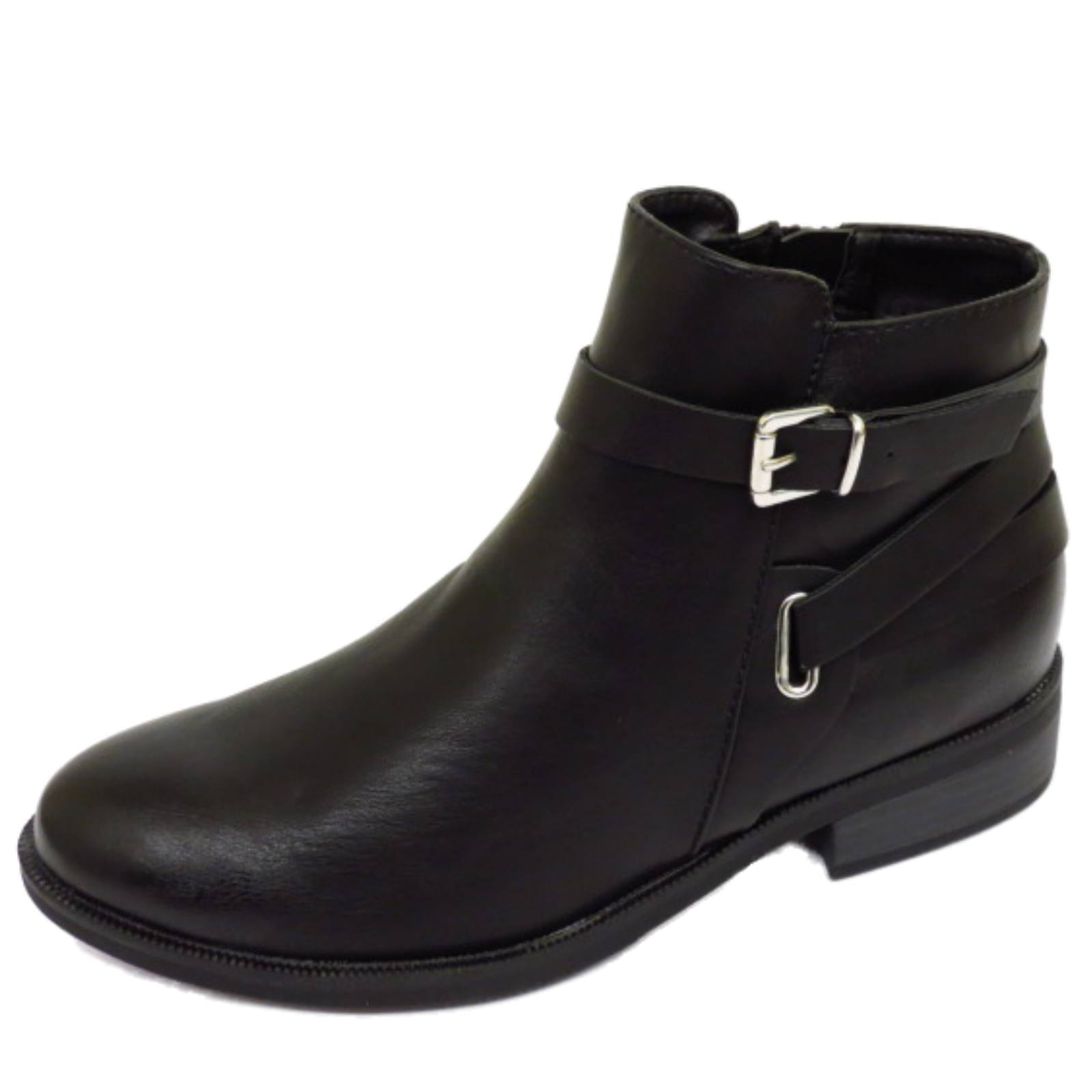 WOMENS BLACK FLAT ZIP-UP BIKER ANKLE CHELSEA PIXIE BOOTS ...