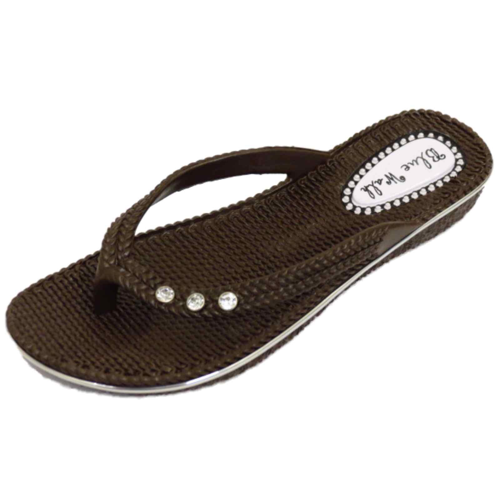 damen flach braun zehensteg sandalen flip flop strand holiday tanga sommer ebay. Black Bedroom Furniture Sets. Home Design Ideas