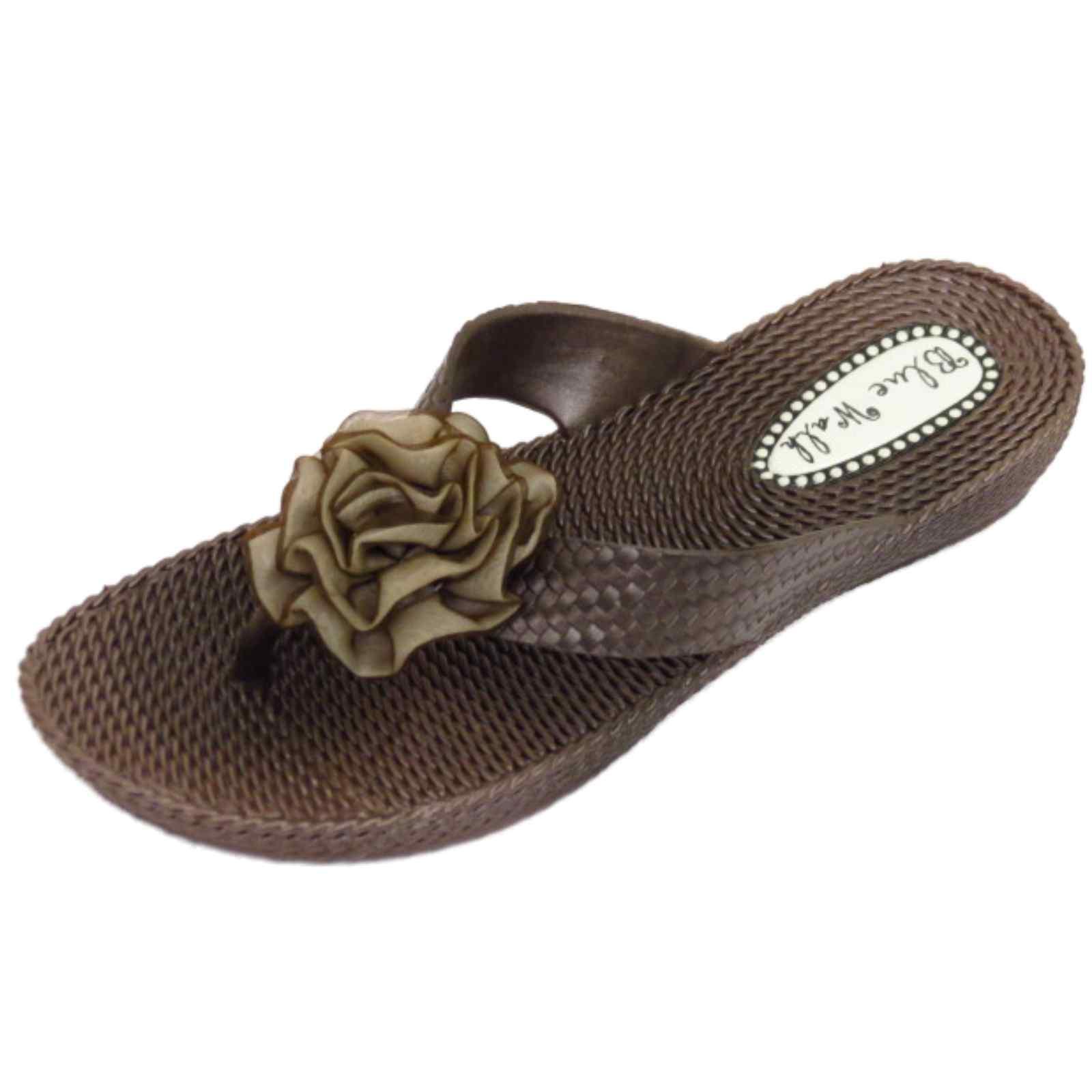 damen flach braun zehensteg sandalen flip flop strand zum reinschl pfen ebay. Black Bedroom Furniture Sets. Home Design Ideas