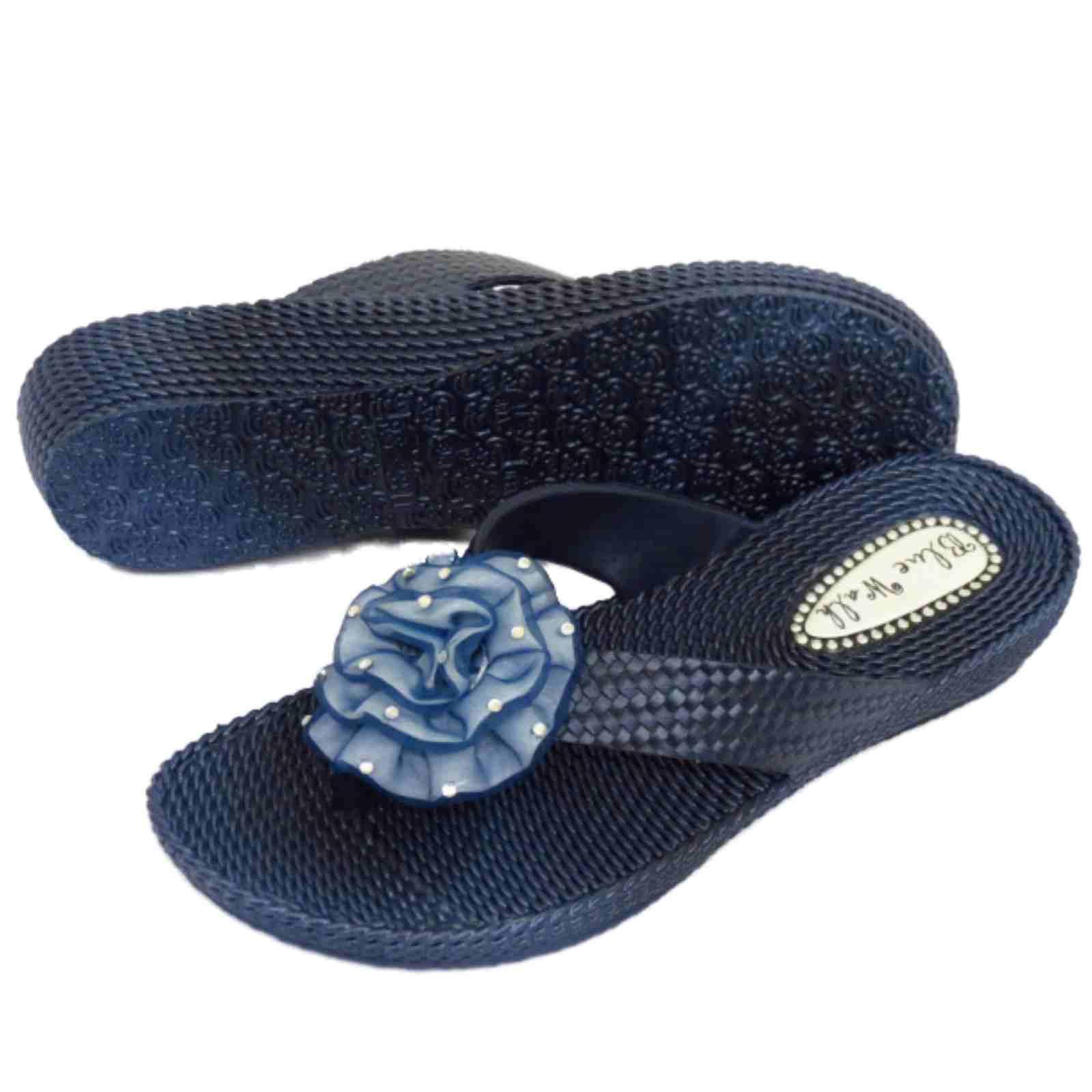 Señoras Plana Azul Marino del Dedo del Pie-Post Sandalias Flip-flop playa Flor Cuña Zapatos 3-8