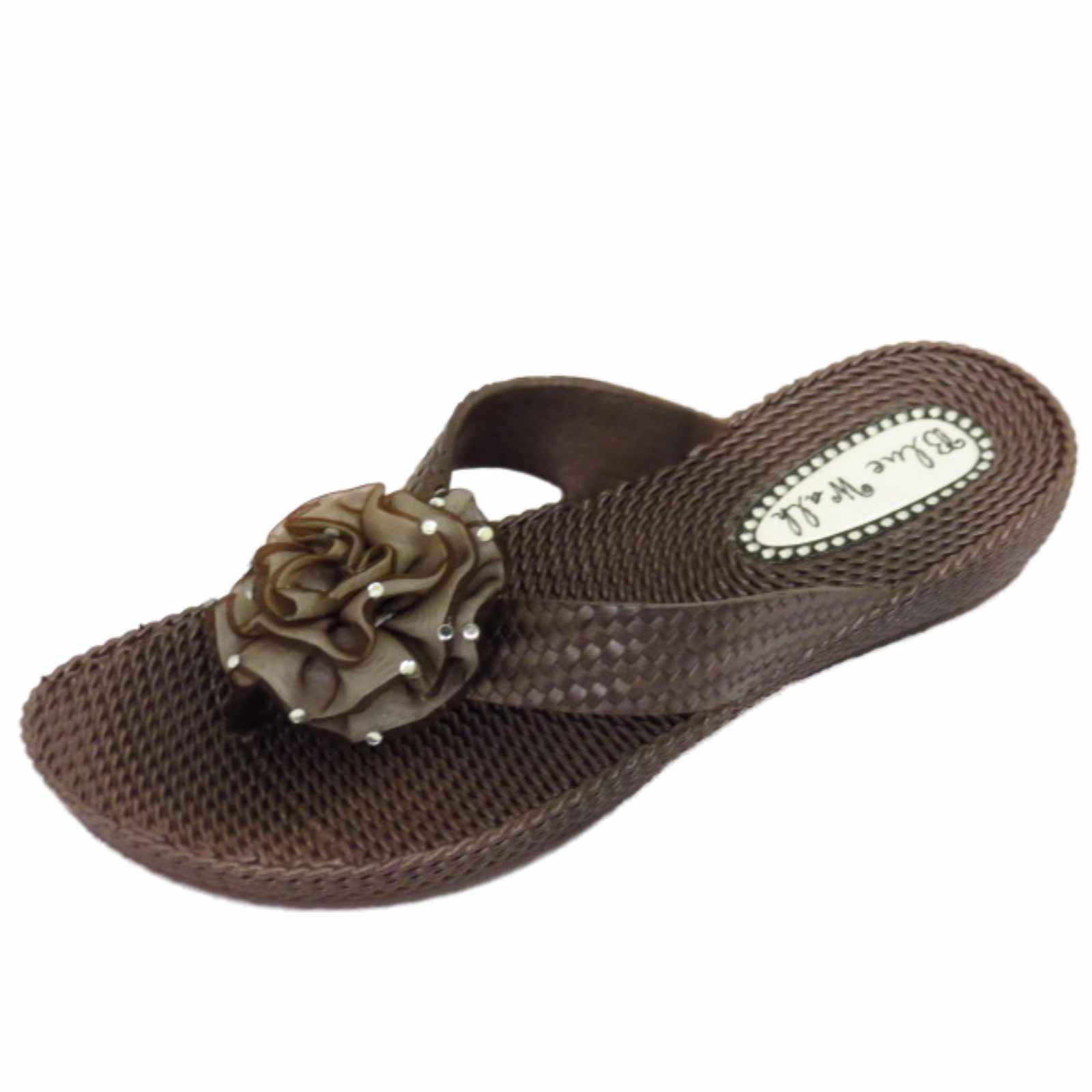 Femme plat marron orteil-post string sandales flip-flop beach fleur chaussures montantes 3-8