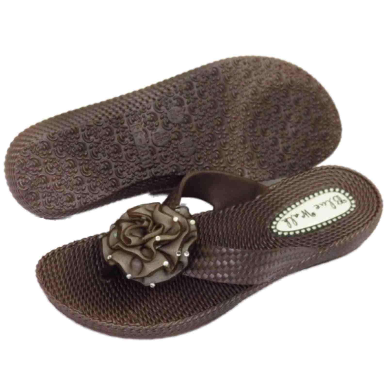 Señoras Marrón del Dedo del Pie-Post Plana Sandalias Flip-flop playa Flor Cuña Zapatos 3-8