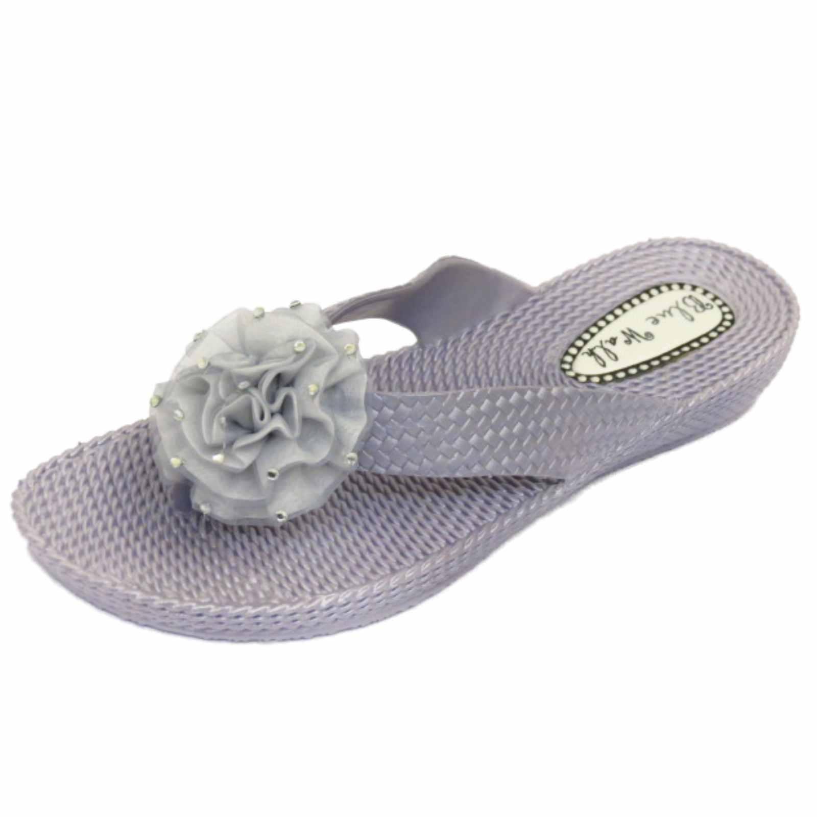 mujer plano plata con Tira Chanclas Chanclas Playa Flor Plataforma Zapatos 3-8
