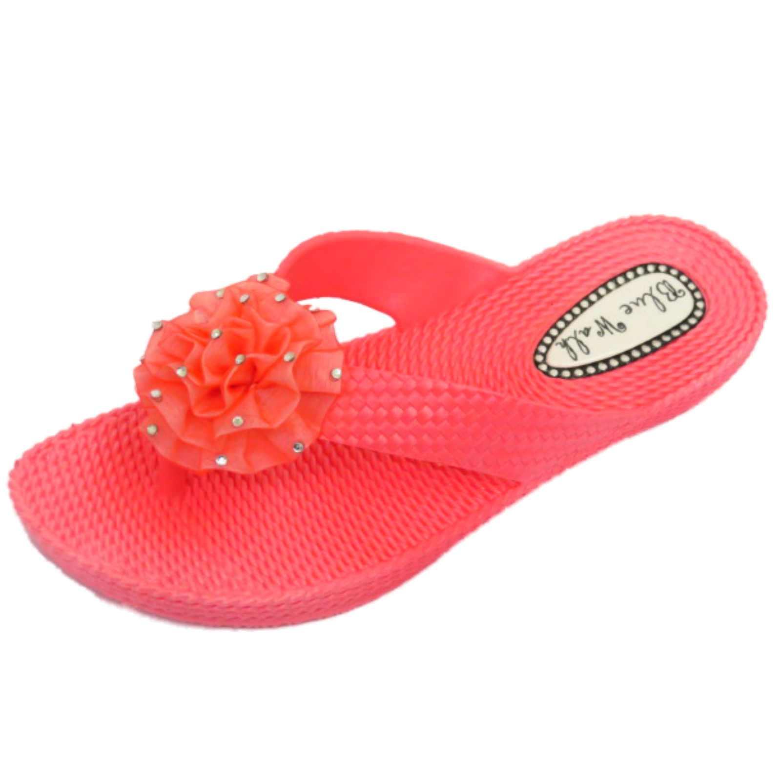 Señoras plana Coral Dedo Del Pie-Post Sandalias Flip-flop playa Flor Cuña Zapatos 3-8