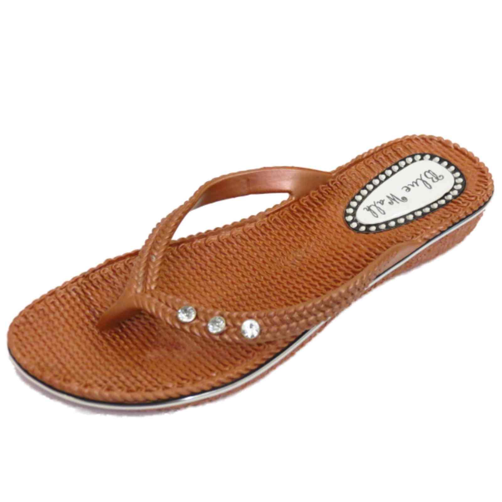 Mujeres Plana Bronce Toe Post Playa Verano Jalea Flip-flop Zapatos Sandalias Tallas 3-8