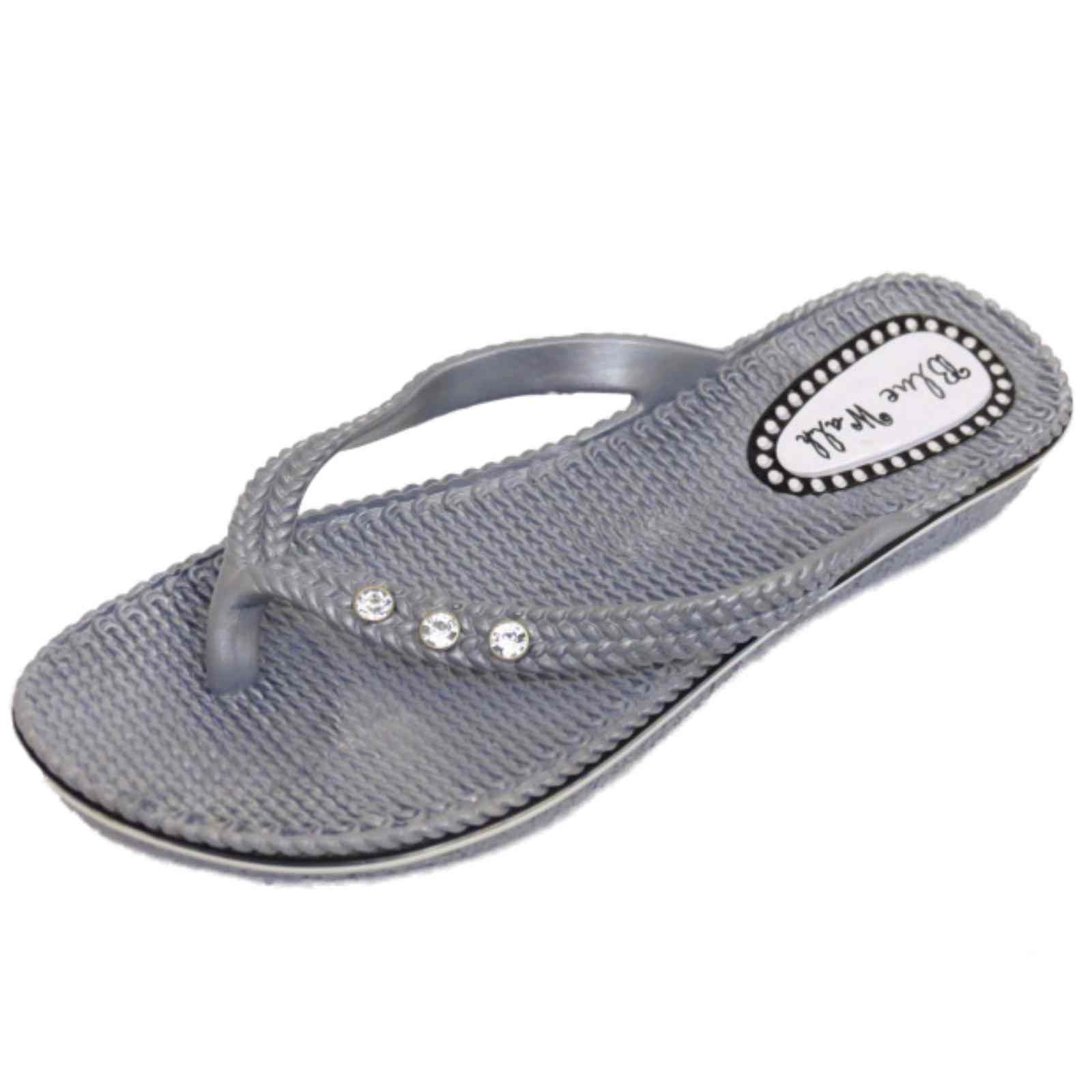 WOMENS FLAT SILVER TOE-POST FLIP-FLOP BEACH SUMMER JELLY ...