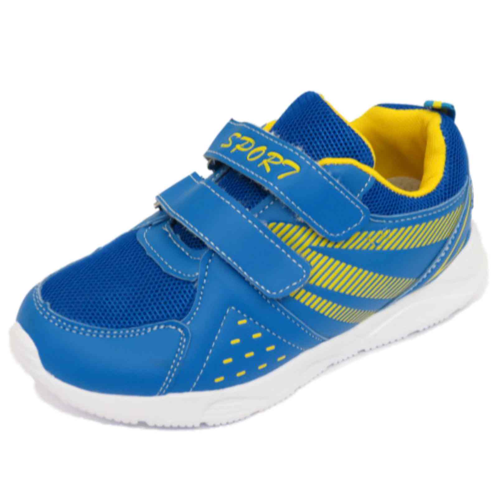 boys blue casual slip on trainers childrens shoes