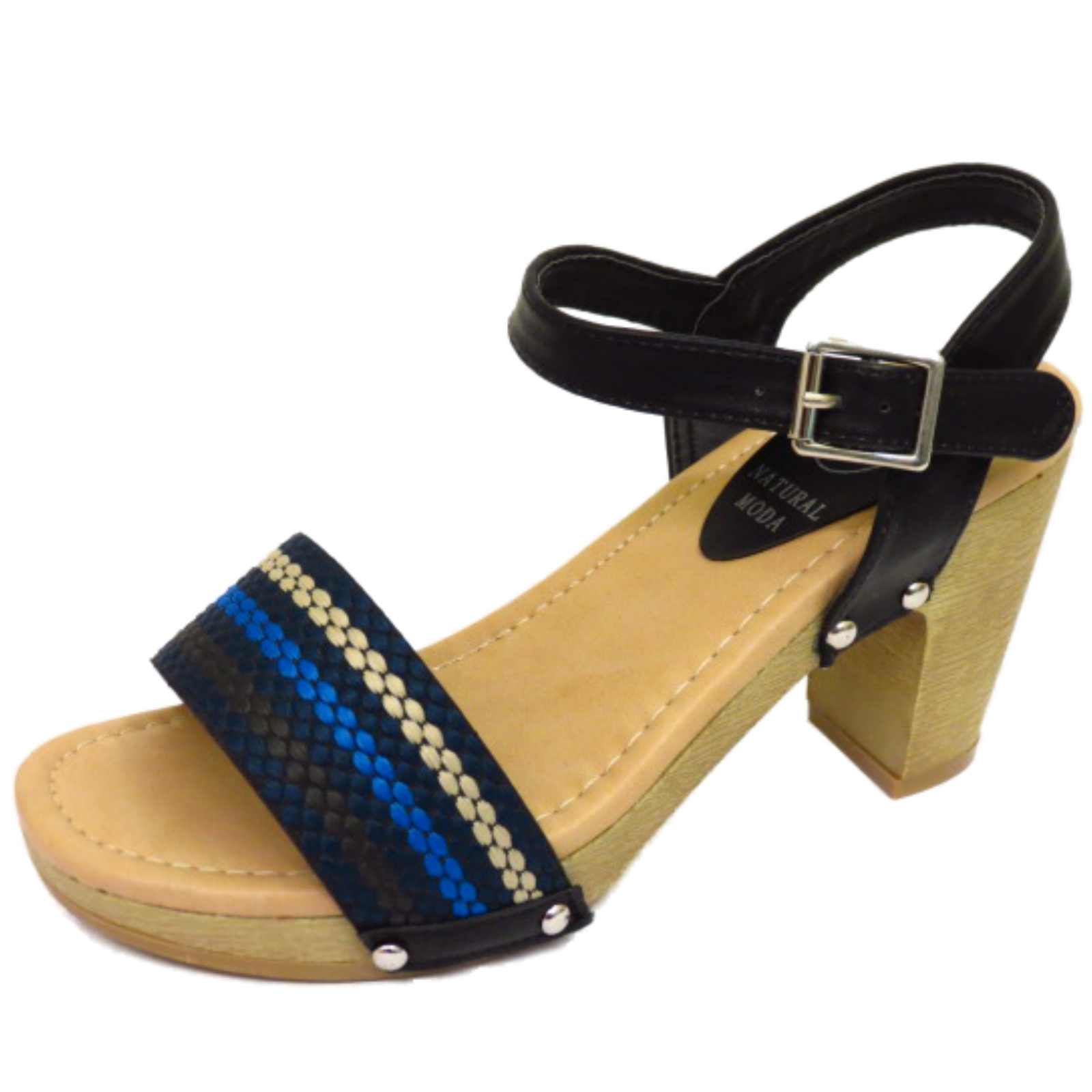 Black sandals holiday - Womens Black Slip On Peep Toe Strappy Shoes